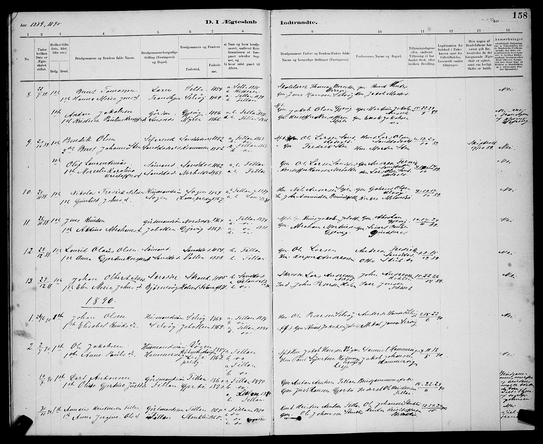 SAT, Ministerialprotokoller, klokkerbøker og fødselsregistre - Sør-Trøndelag, 637/L0562: Klokkerbok nr. 637C03, 1883-1898, s. 158