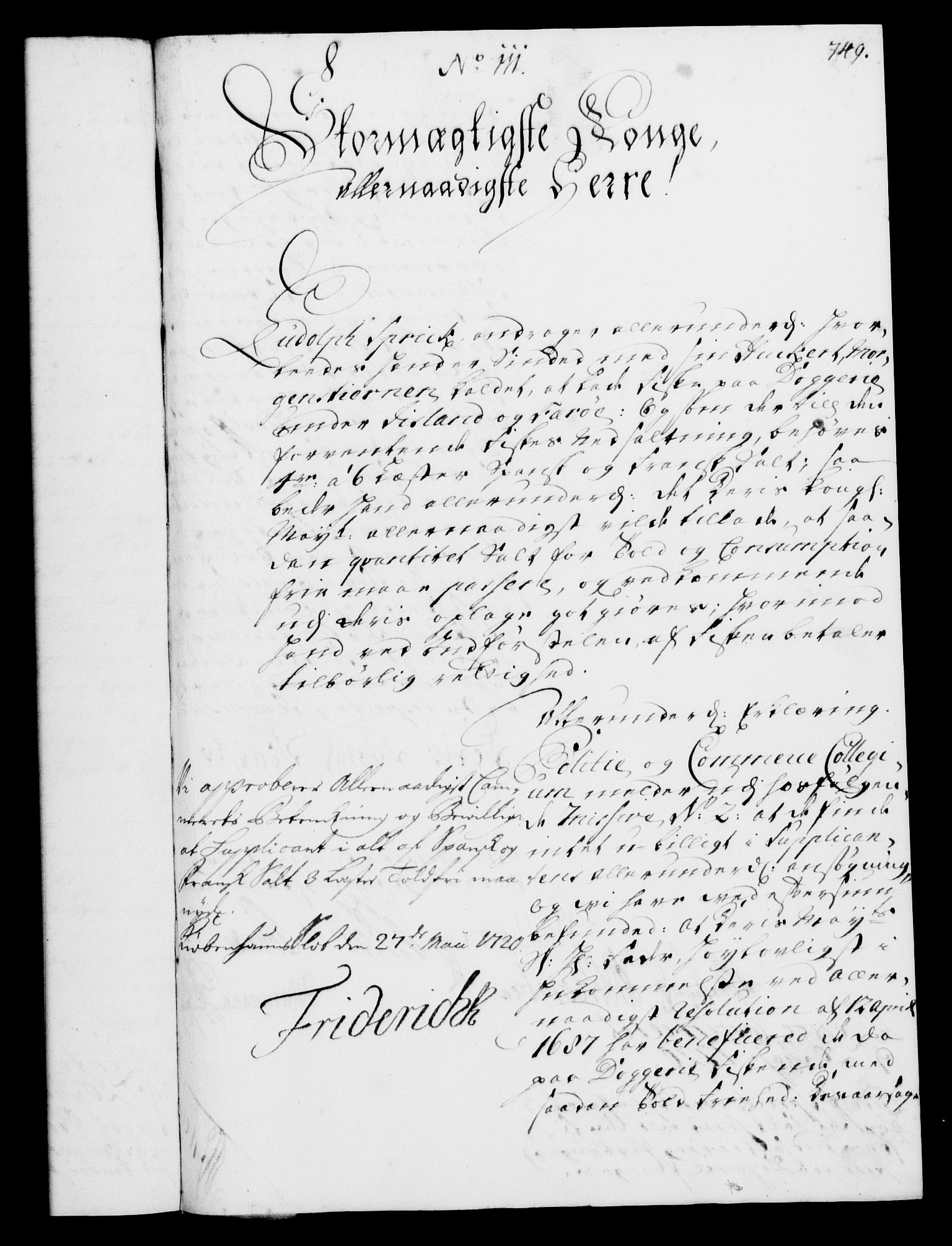RA, Rentekammeret, Kammerkanselliet, G/Gf/Gfa/L0002: Norsk relasjons- og resolusjonsprotokoll (merket RK 52.2), 1720, s. 722