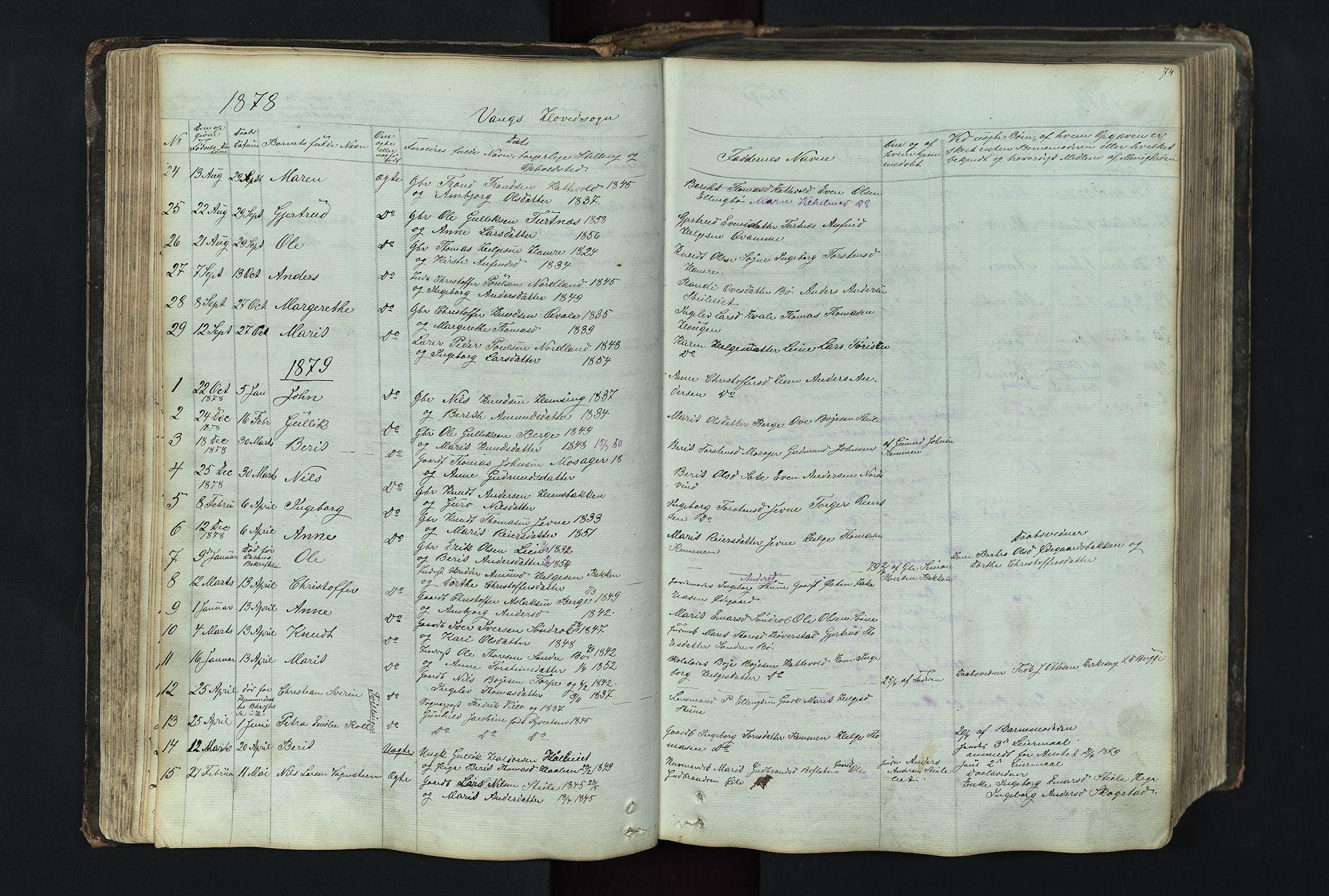 SAH, Vang prestekontor, Valdres, Klokkerbok nr. 4, 1835-1892, s. 74