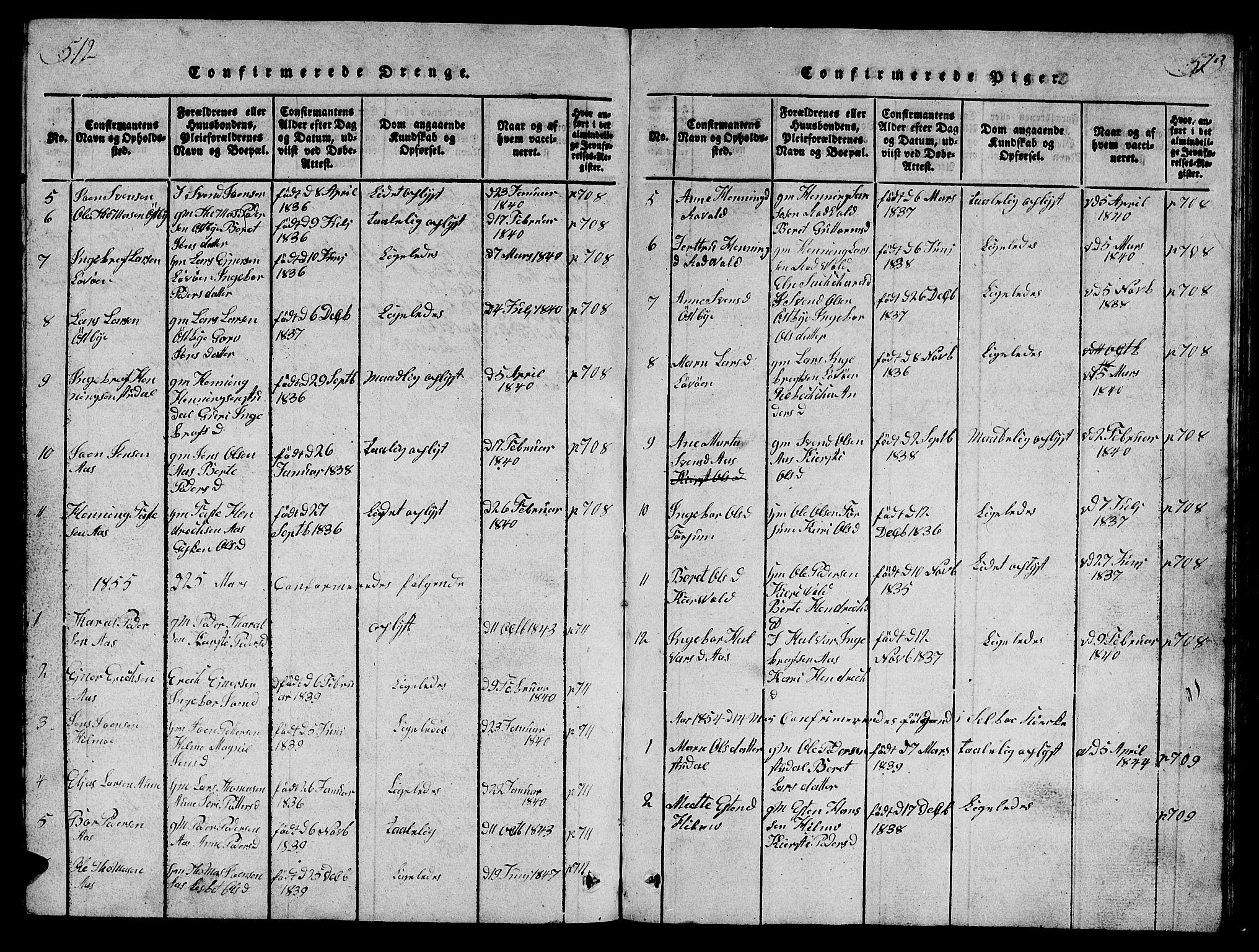 SAT, Ministerialprotokoller, klokkerbøker og fødselsregistre - Sør-Trøndelag, 698/L1164: Klokkerbok nr. 698C01, 1816-1861, s. 512-513