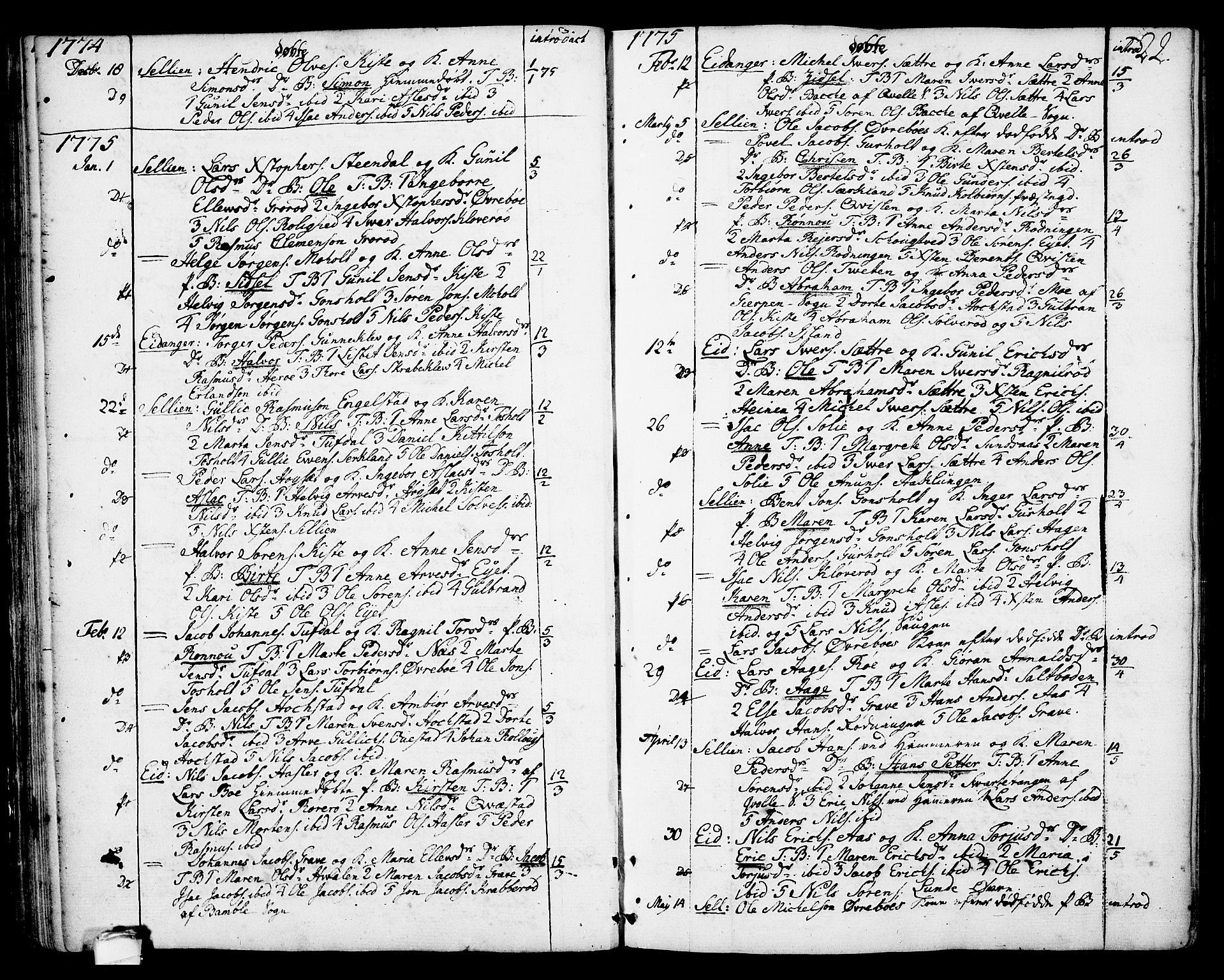 SAKO, Eidanger kirkebøker, F/Fa/L0006: Ministerialbok nr. 6, 1764-1814, s. 22