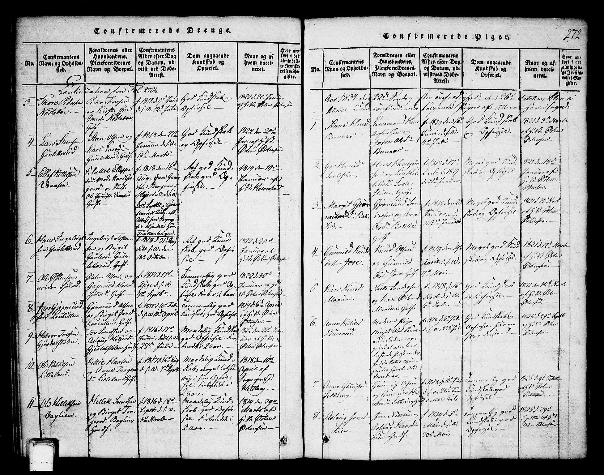 SAKO, Tinn kirkebøker, G/Ga/L0001: Klokkerbok nr. I 1, 1815-1850, s. 272