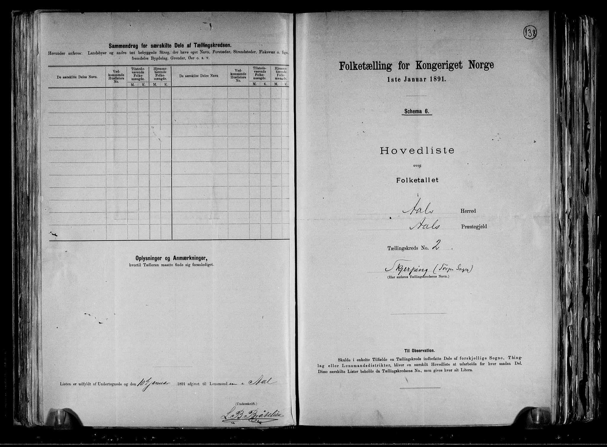 RA, Folketelling 1891 for 0619 Ål herred, 1891, s. 8