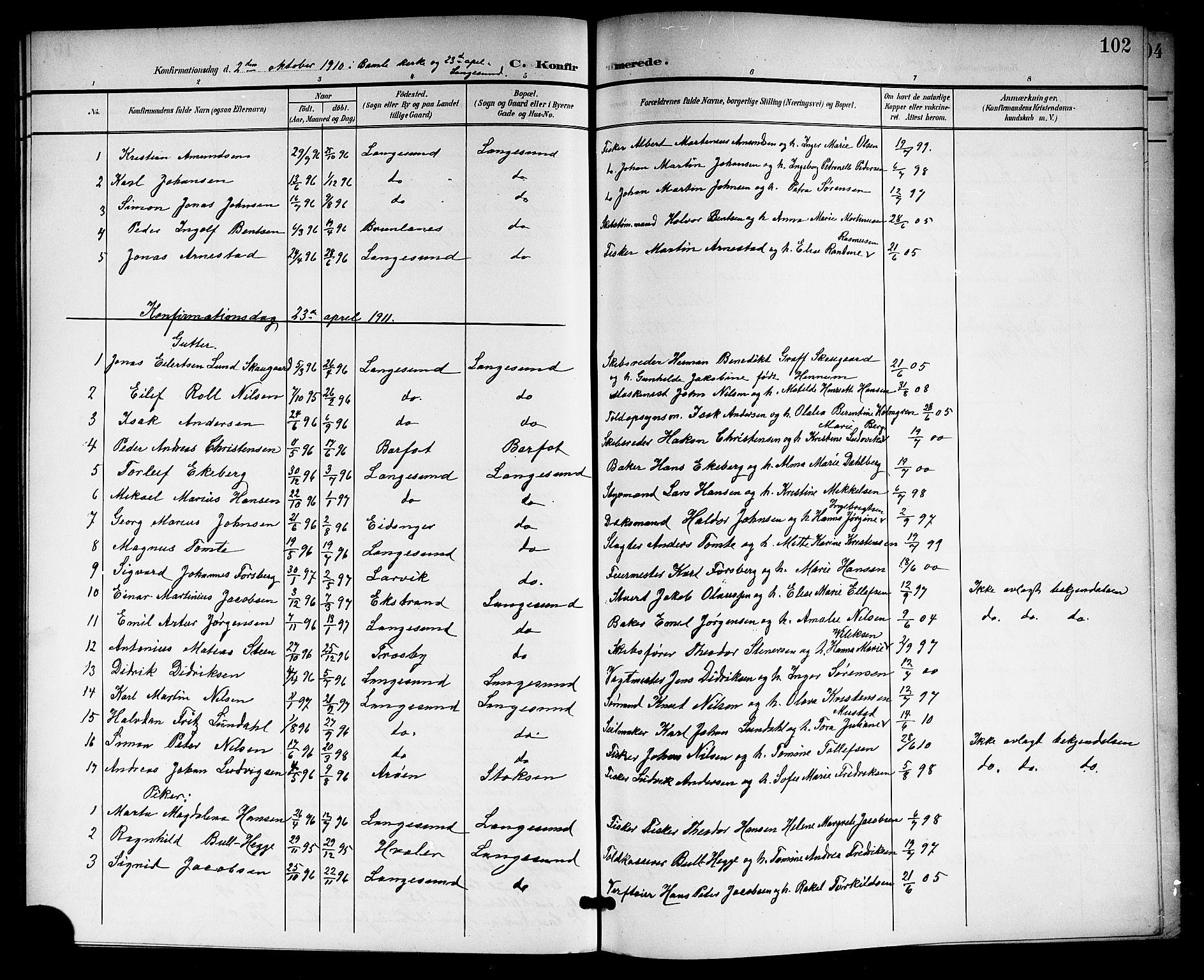 SAKO, Langesund kirkebøker, G/Ga/L0006: Klokkerbok nr. 6, 1899-1918, s. 102