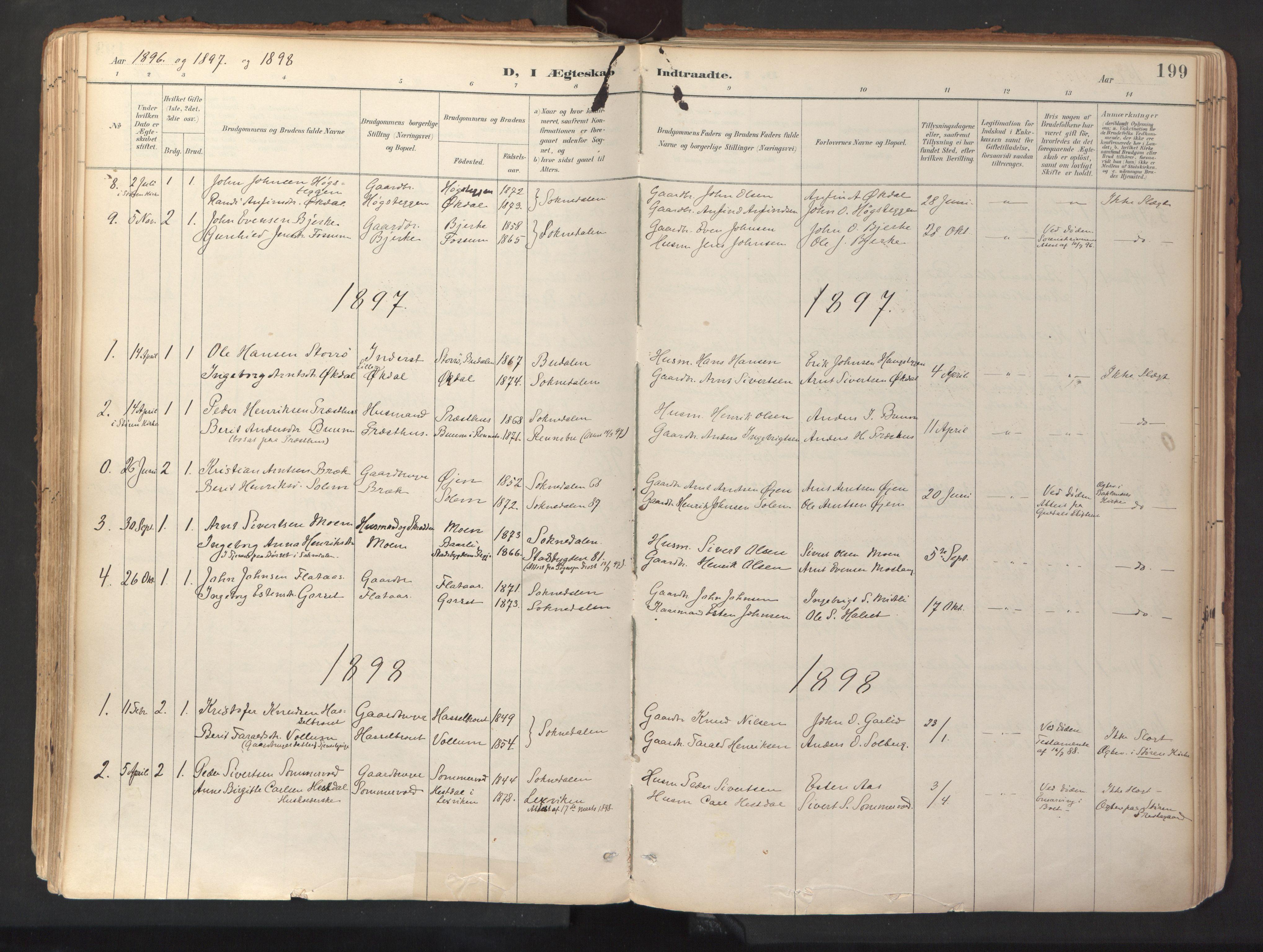 SAT, Ministerialprotokoller, klokkerbøker og fødselsregistre - Sør-Trøndelag, 689/L1041: Ministerialbok nr. 689A06, 1891-1923, s. 199