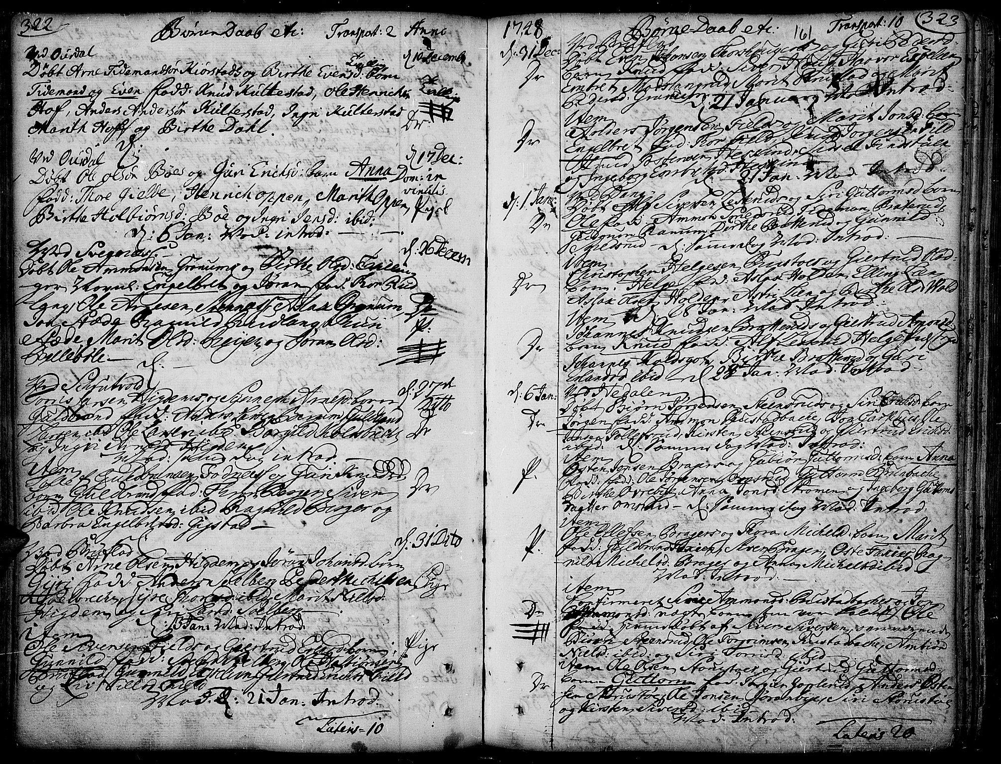 SAH, Aurdal prestekontor, Ministerialbok nr. 4, 1730-1762, s. 322-323
