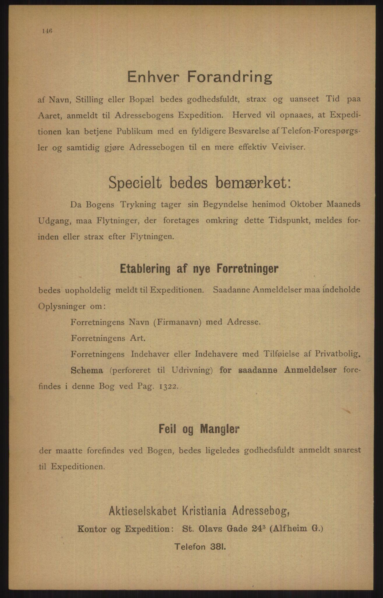 RA, Kristiania adressebok (publikasjon)*, 1905, s. 146