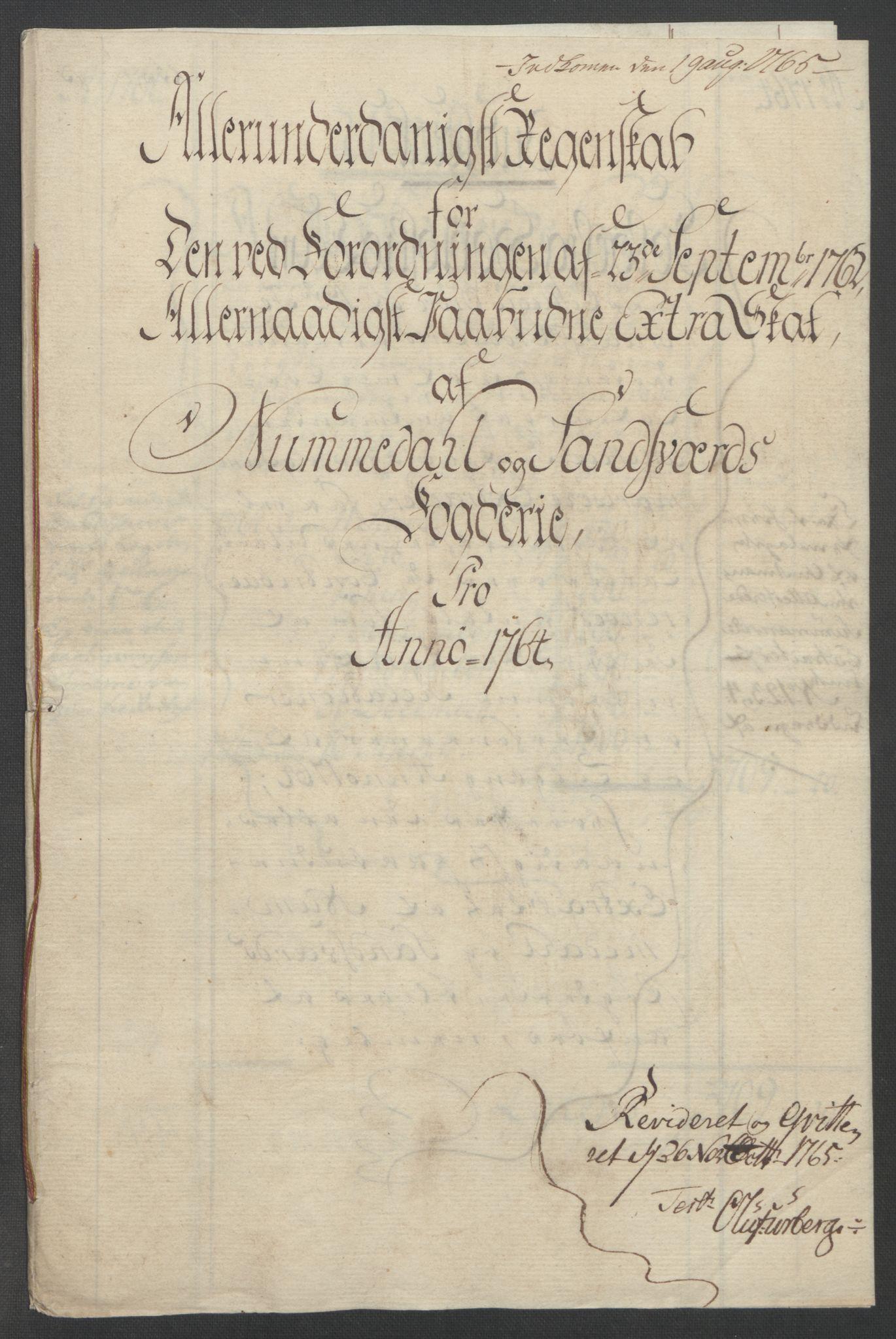 RA, Rentekammeret inntil 1814, Reviderte regnskaper, Fogderegnskap, R24/L1672: Ekstraskatten Numedal og Sandsvær, 1762-1767, s. 213
