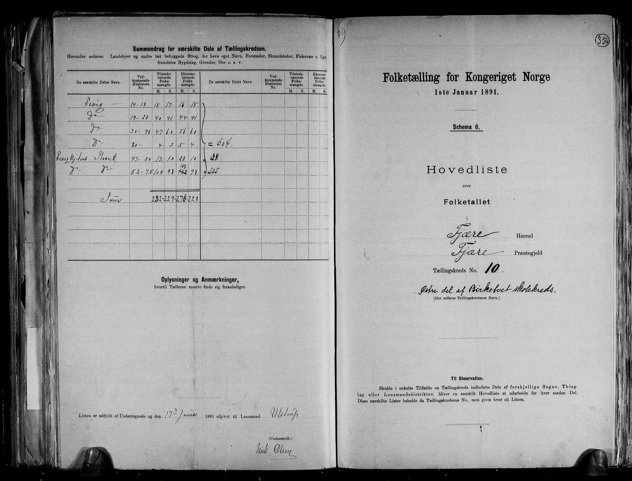 RA, Folketelling 1891 for 0923 Fjære herred, 1891, s. 24