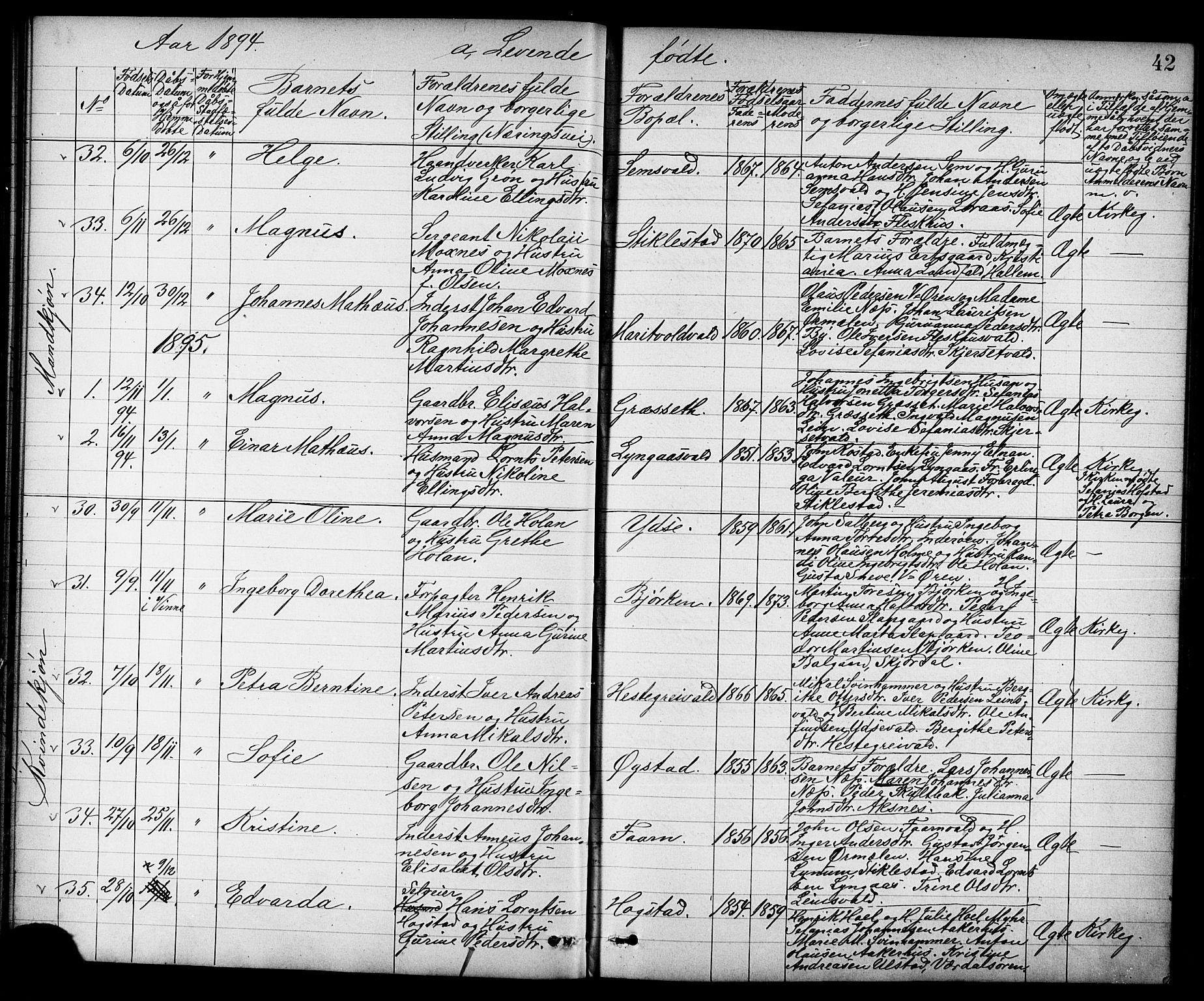 SAT, Ministerialprotokoller, klokkerbøker og fødselsregistre - Nord-Trøndelag, 723/L0257: Klokkerbok nr. 723C05, 1890-1907, s. 42