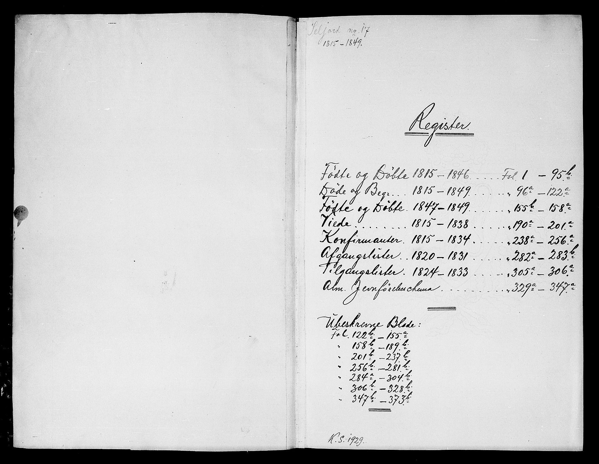 SAKO, Seljord kirkebøker, G/Gc/L0001: Klokkerbok nr. III 1, 1815-1849