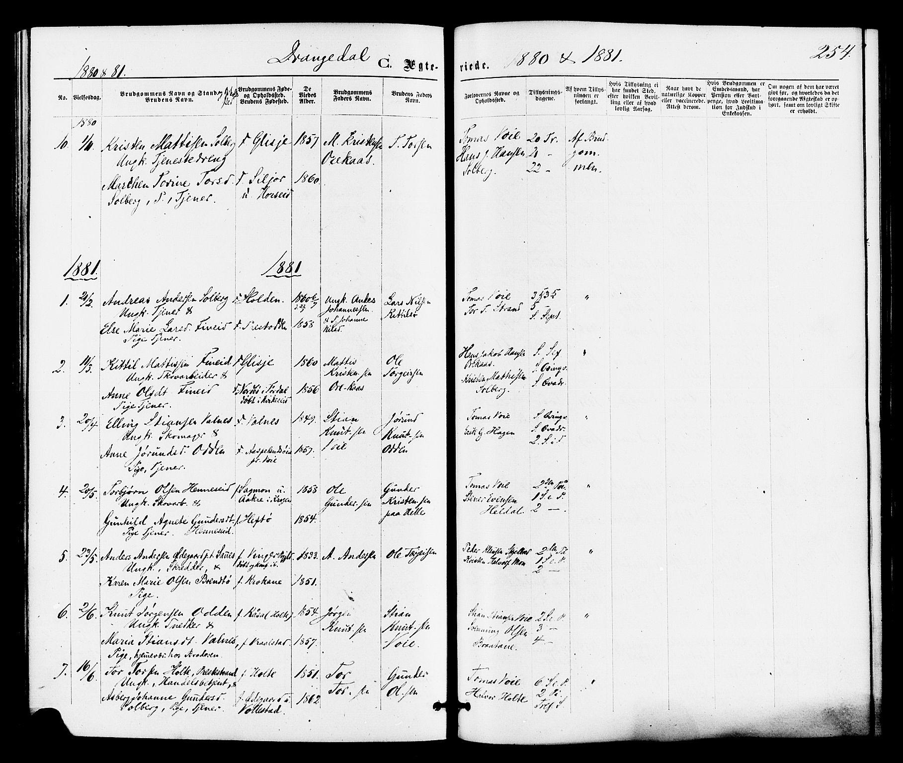 SAKO, Drangedal kirkebøker, F/Fa/L0009: Ministerialbok nr. 9 /1, 1872-1884, s. 254