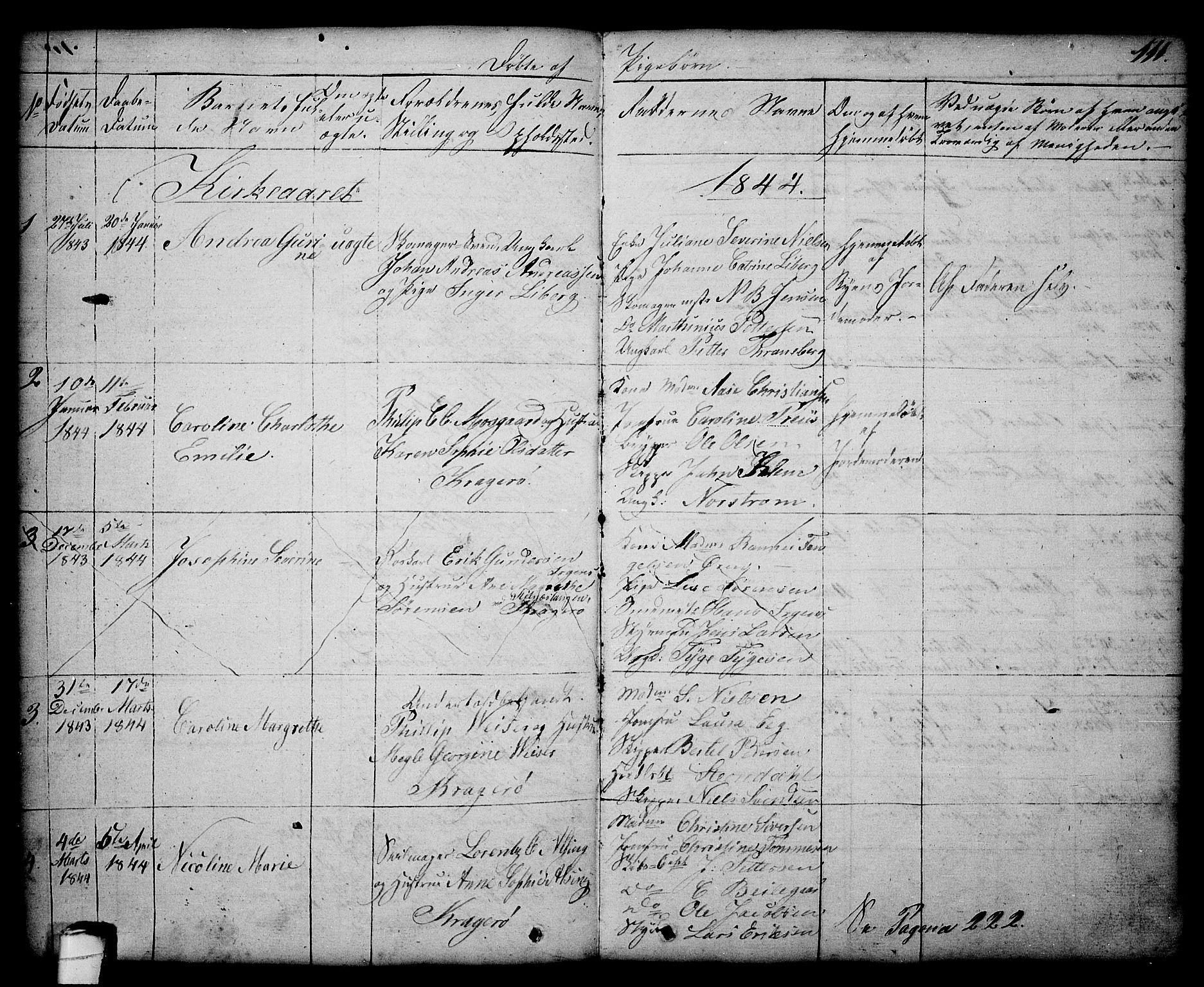 SAKO, Kragerø kirkebøker, G/Ga/L0003: Klokkerbok nr. 3, 1832-1852, s. 111