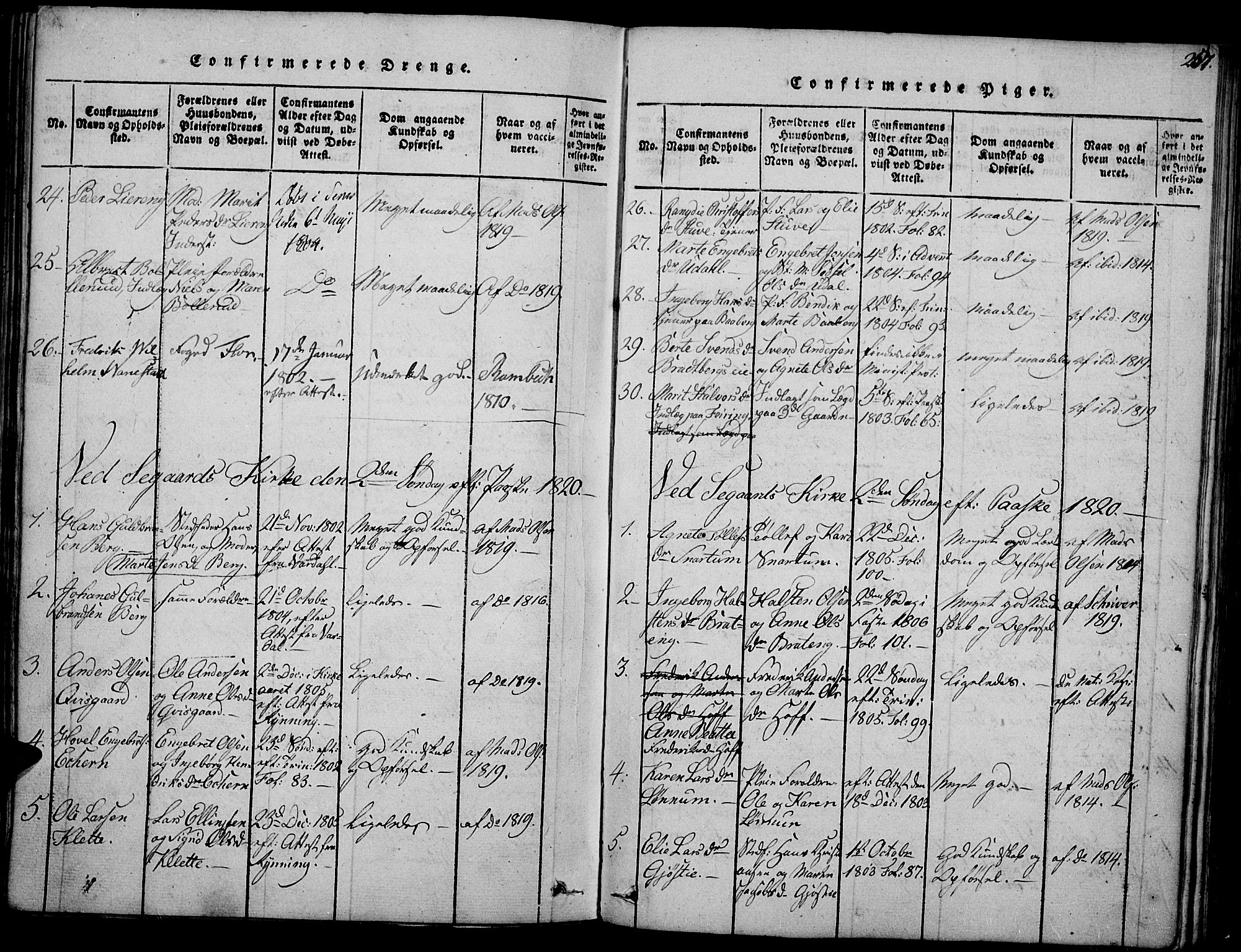 SAH, Biri prestekontor, Ministerialbok nr. 3, 1814-1828, s. 257