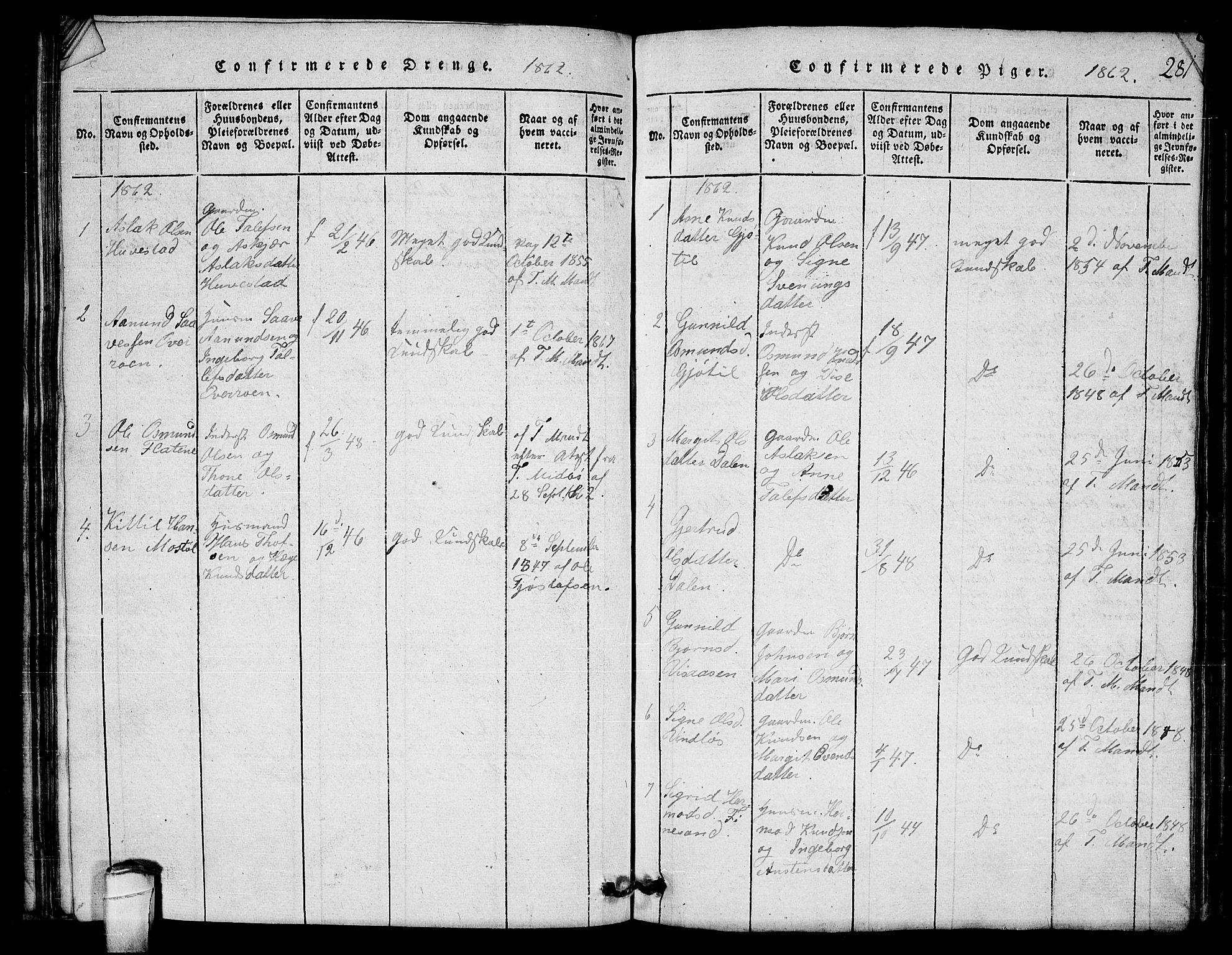SAKO, Lårdal kirkebøker, G/Gb/L0001: Klokkerbok nr. II 1, 1815-1865, s. 281