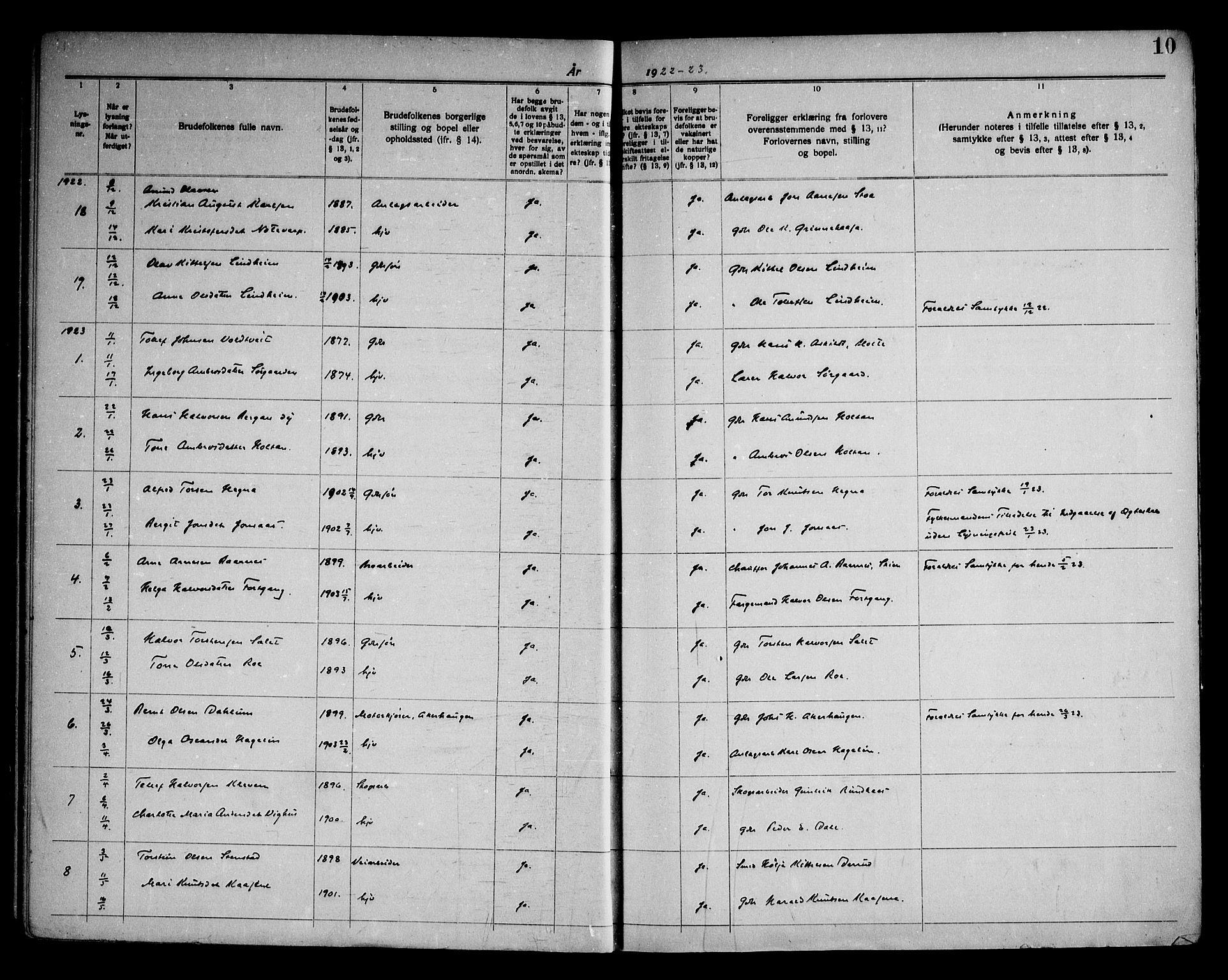 SAKO, Sauherad kirkebøker, H/Ha/L0001: Lysningsprotokoll nr. 1, 1919-1960, s. 10