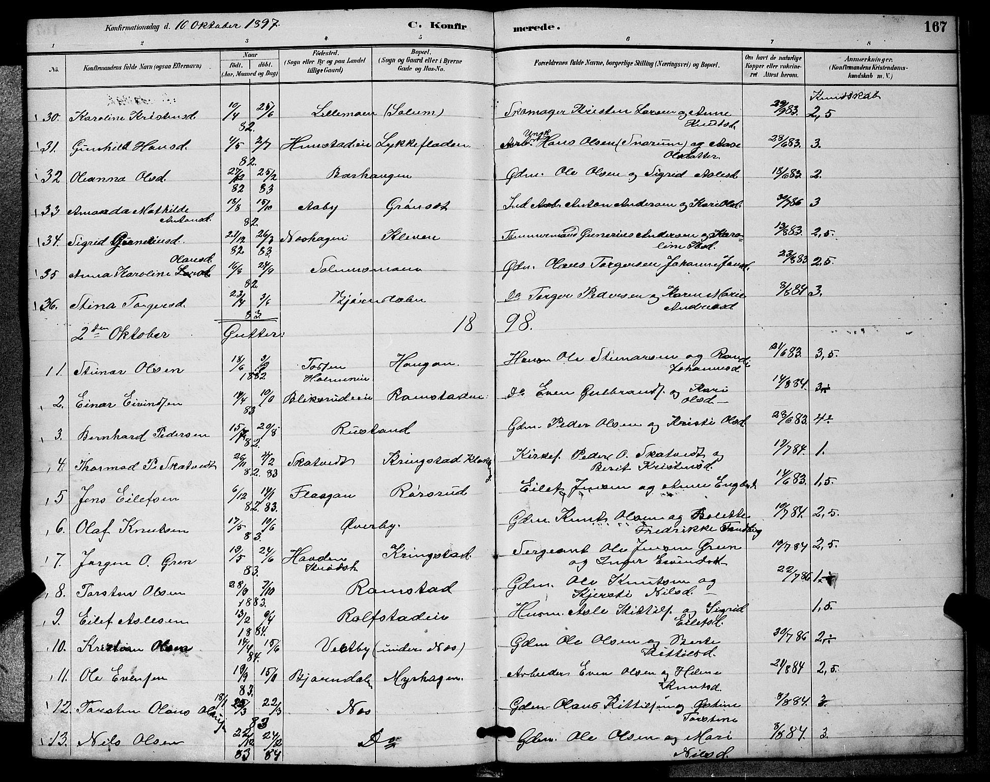 SAKO, Sigdal kirkebøker, G/Ga/L0005: Klokkerbok nr. I 5, 1886-1900, s. 167