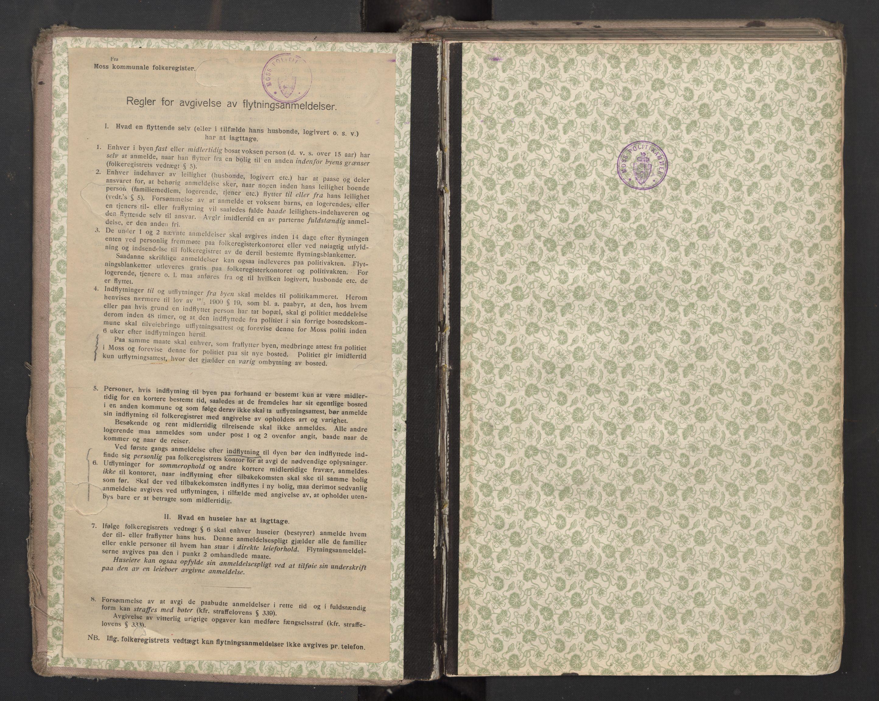 SAO, Moss folkeregister, J/L0003: Inn- og utflyttede i Moss fattigkommune, 1913-1917