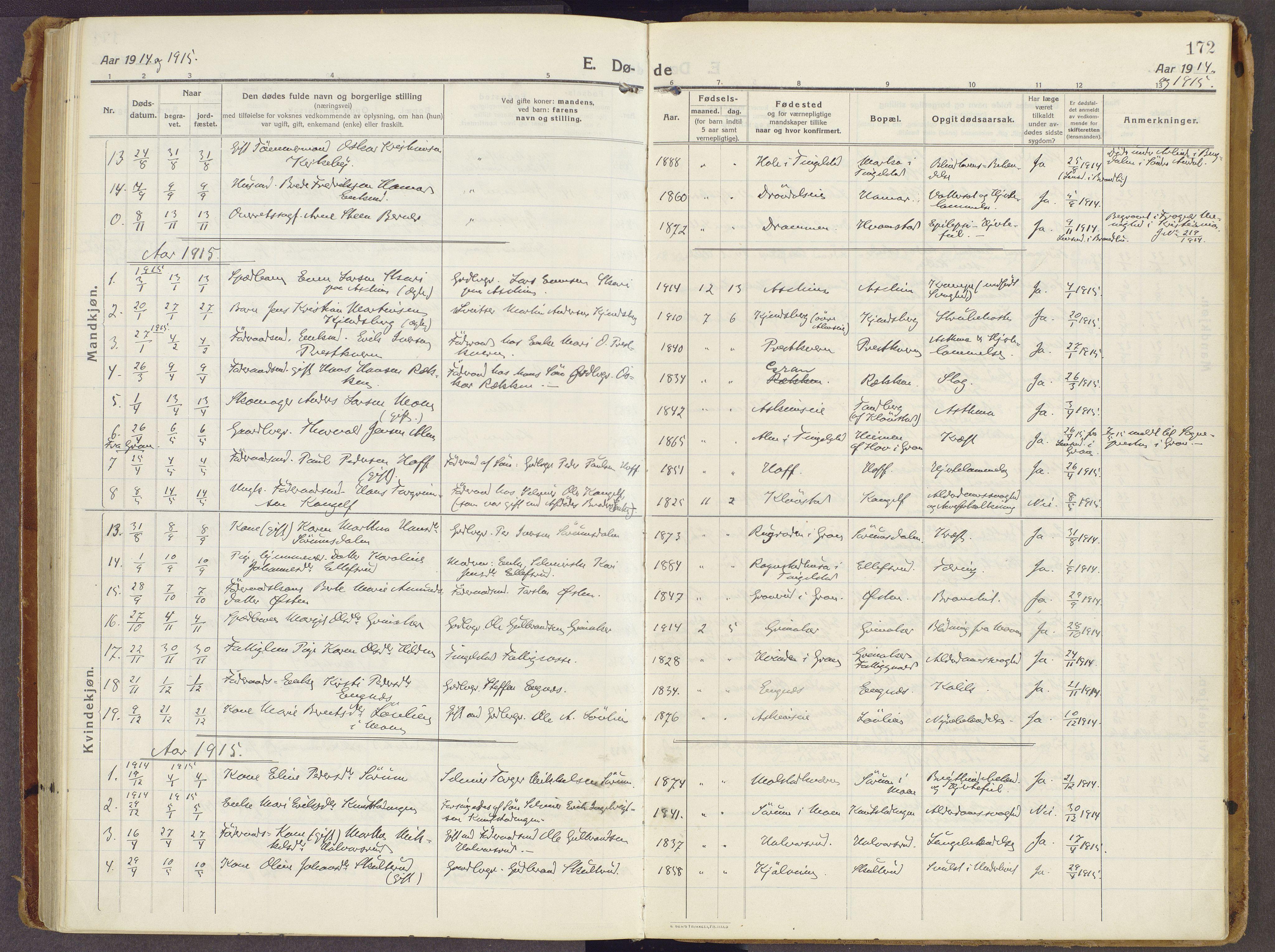 SAH, Brandbu prestekontor, Ministerialbok nr. 3, 1914-1928, s. 172