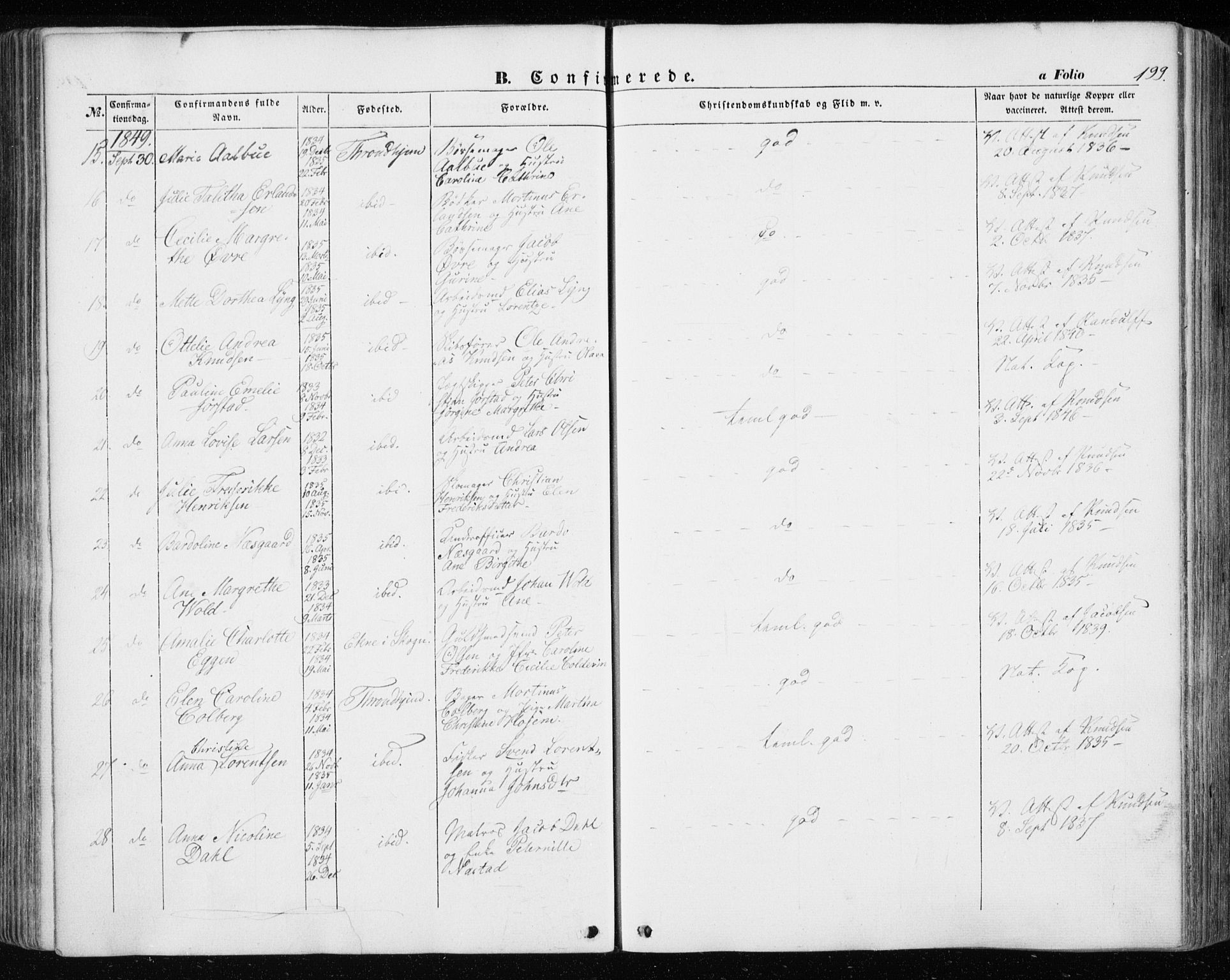 SAT, Ministerialprotokoller, klokkerbøker og fødselsregistre - Sør-Trøndelag, 601/L0051: Ministerialbok nr. 601A19, 1848-1857, s. 199