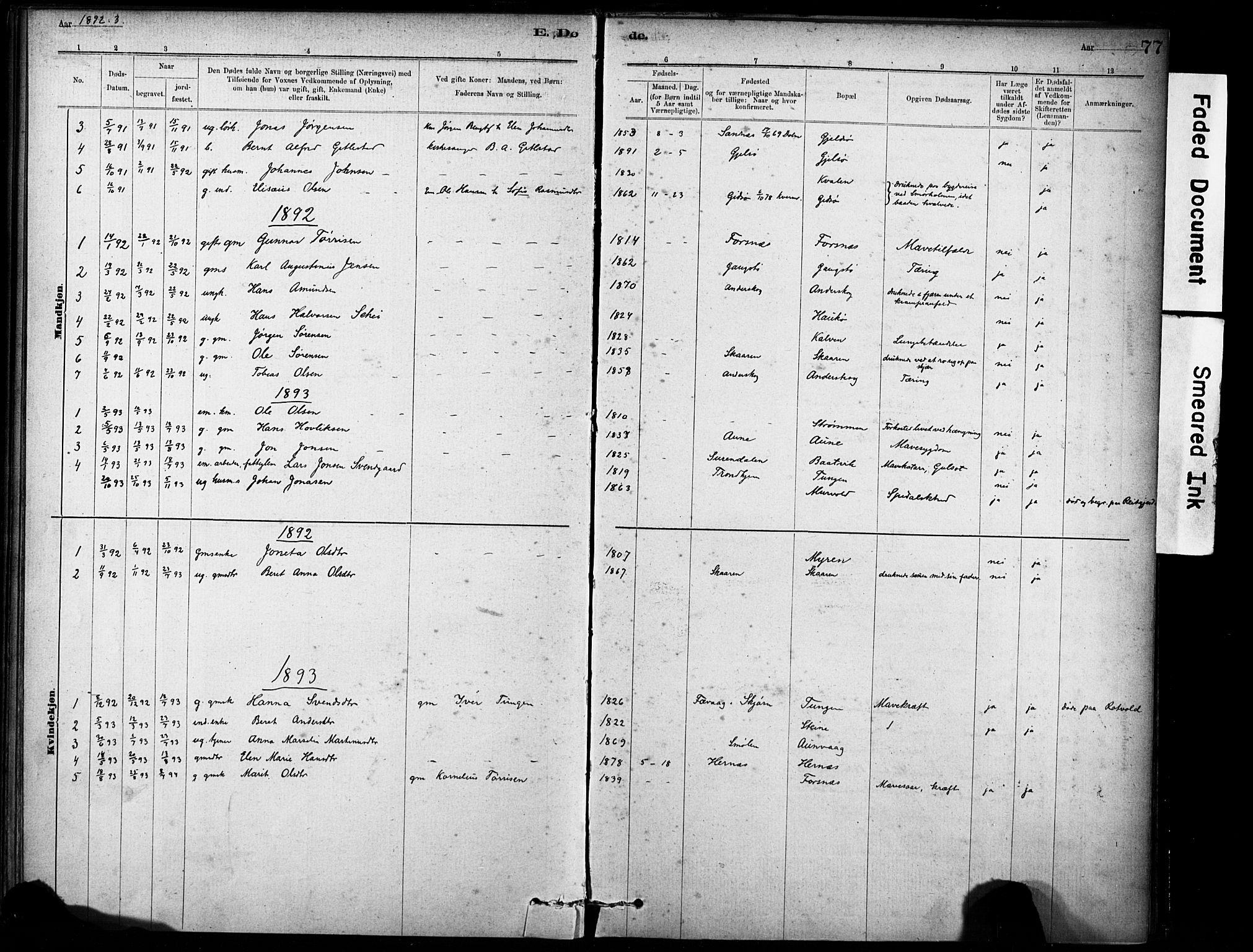 SAT, Ministerialprotokoller, klokkerbøker og fødselsregistre - Sør-Trøndelag, 635/L0551: Ministerialbok nr. 635A01, 1882-1899, s. 77
