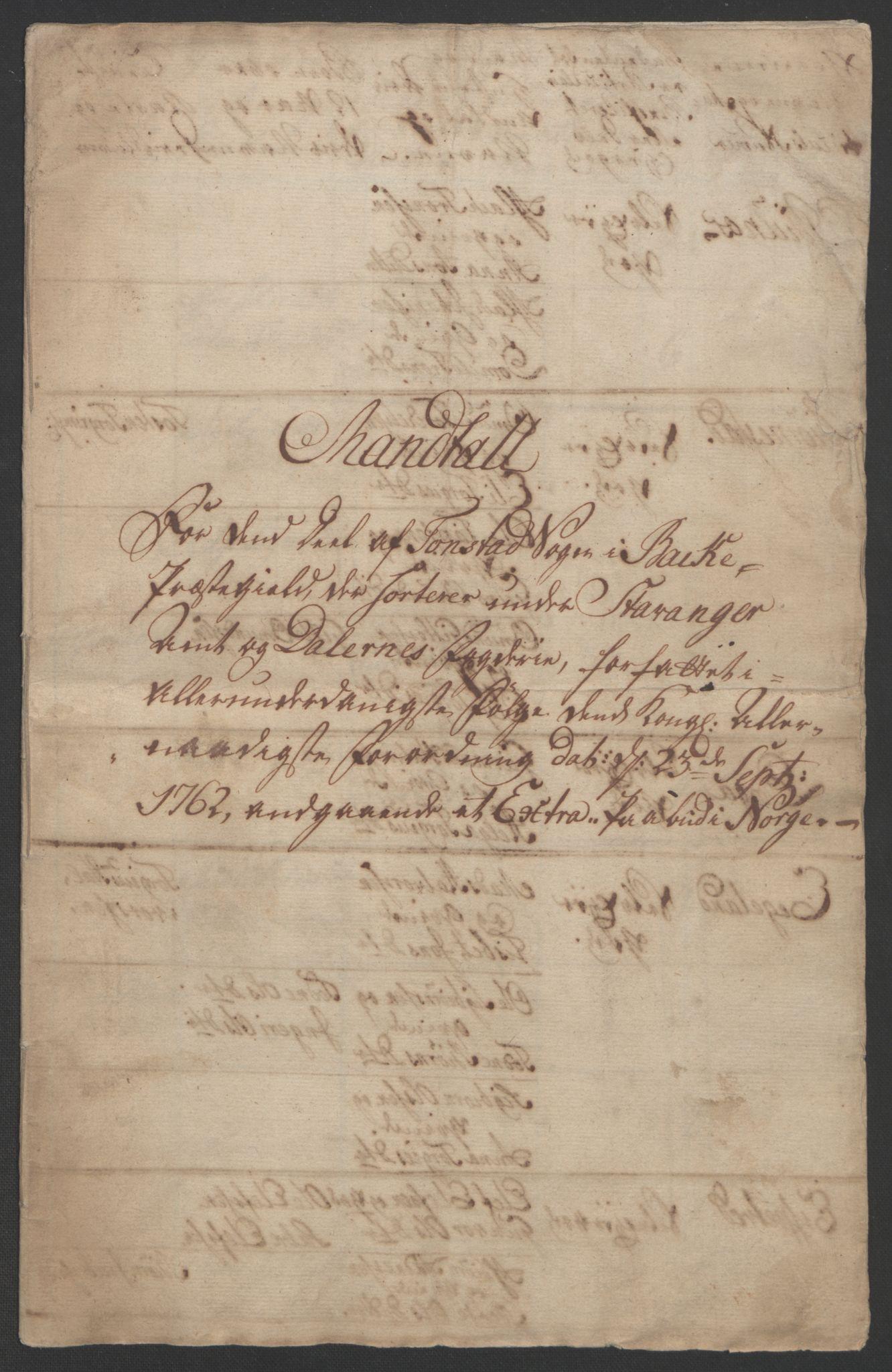RA, Rentekammeret inntil 1814, Realistisk ordnet avdeling, Ol/L0015: [Gg 10]: Ekstraskatten, 23.09.1762. Stavanger by, Jæren og Dalane, Bergen, 1762-1764, s. 193