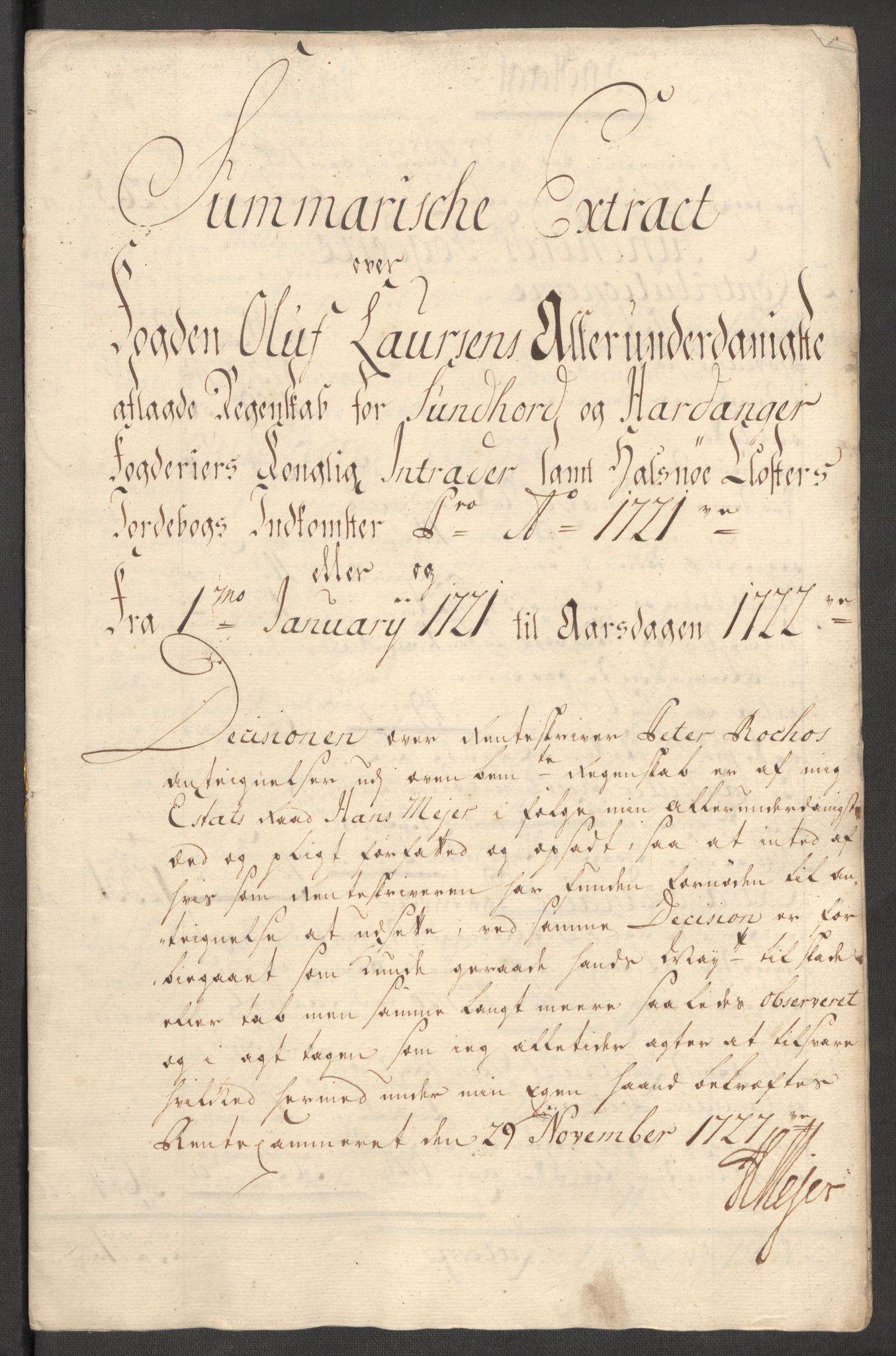 RA, Rentekammeret inntil 1814, Reviderte regnskaper, Fogderegnskap, R48/L3000: Fogderegnskap Sunnhordland og Hardanger, 1721, s. 63