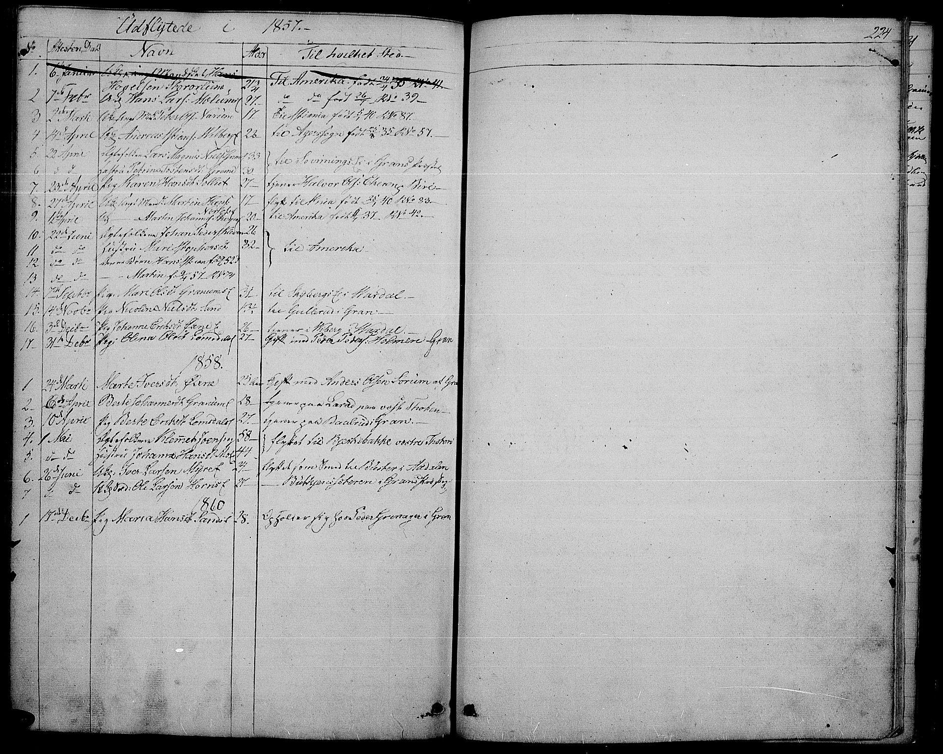 SAH, Søndre Land prestekontor, L/L0001: Klokkerbok nr. 1, 1849-1883, s. 224