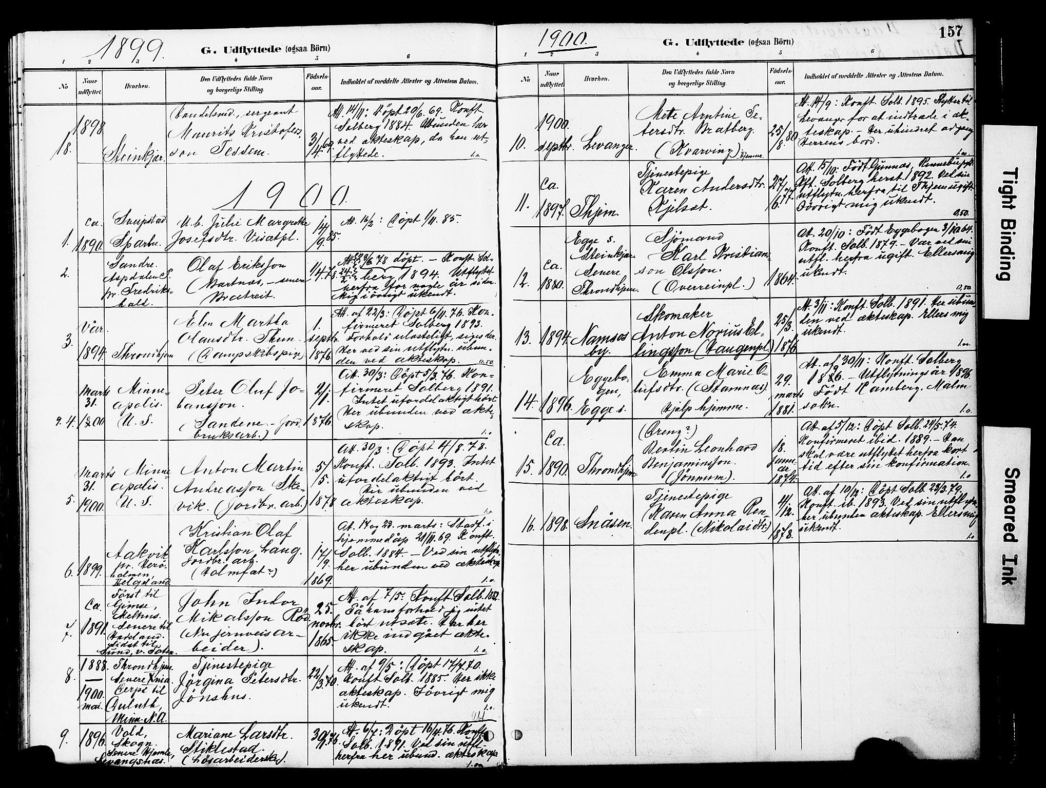 SAT, Ministerialprotokoller, klokkerbøker og fødselsregistre - Nord-Trøndelag, 741/L0396: Ministerialbok nr. 741A10, 1889-1901, s. 157