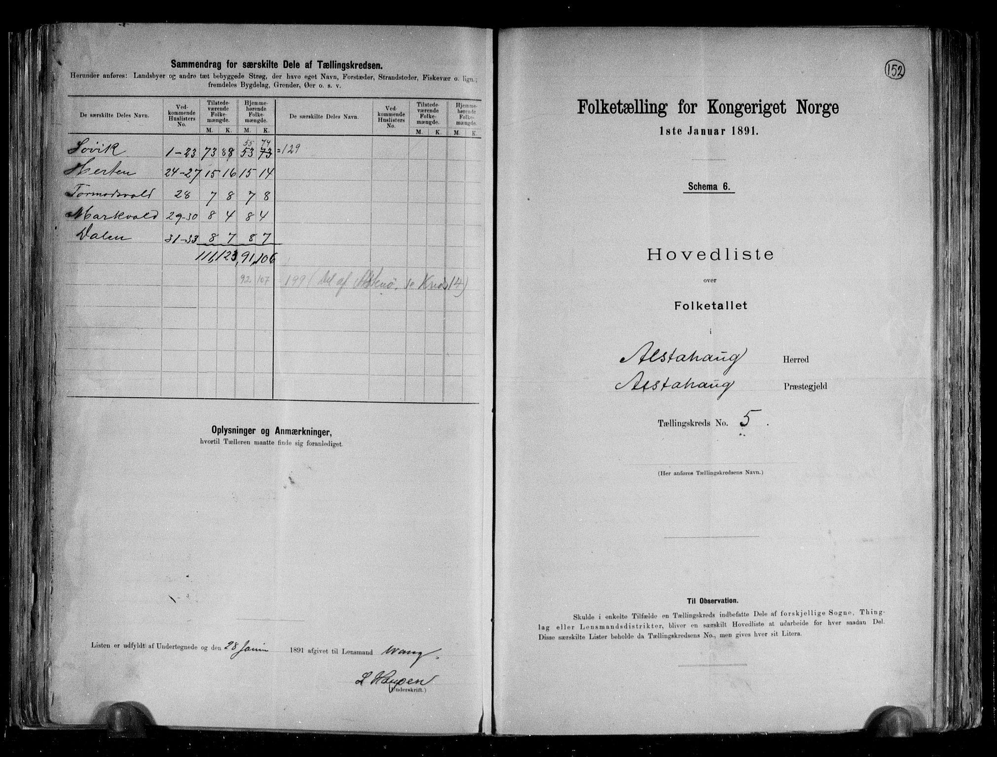 RA, Folketelling 1891 for 1820 Alstahaug herred, 1891, s. 14