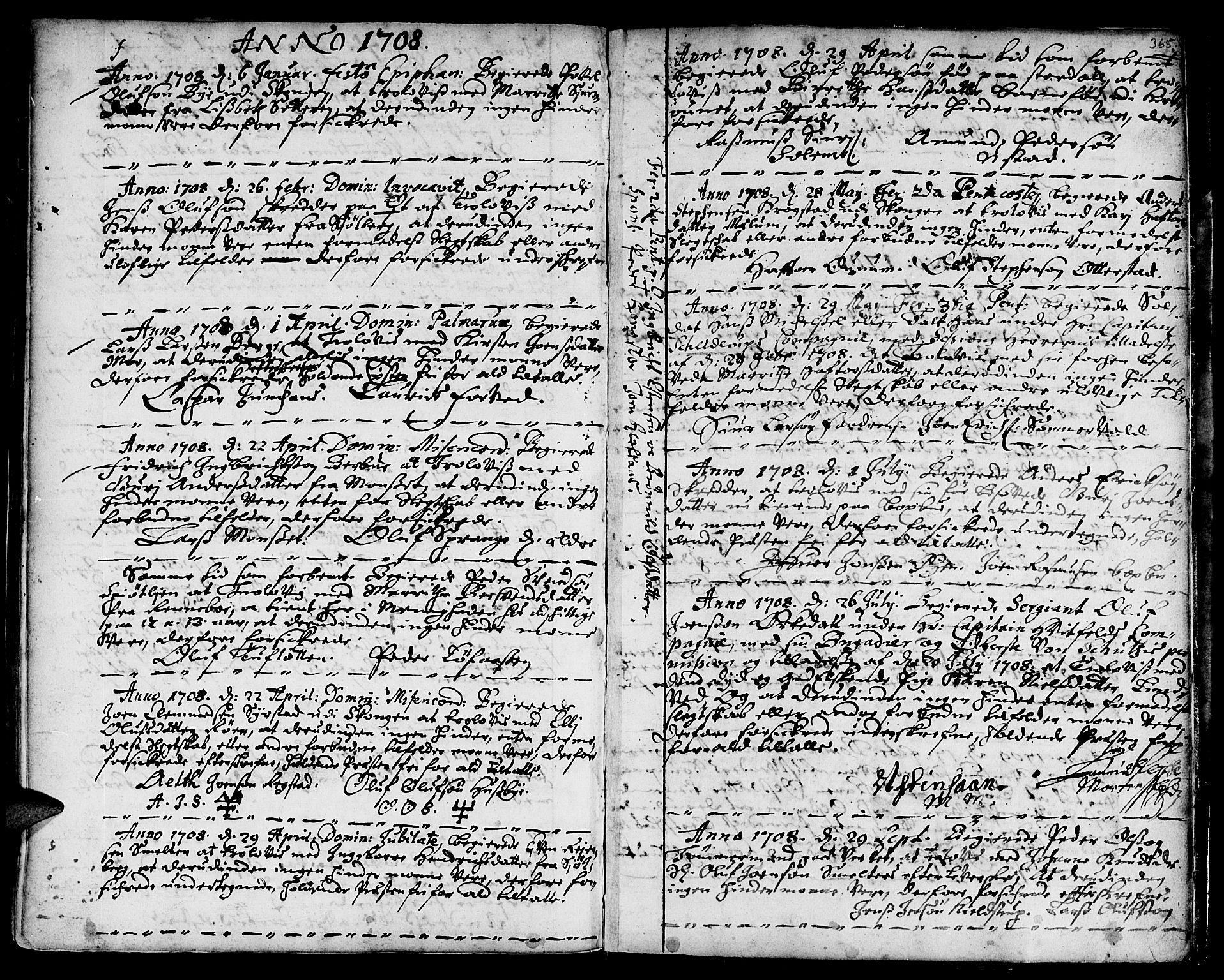 SAT, Ministerialprotokoller, klokkerbøker og fødselsregistre - Sør-Trøndelag, 668/L0801: Ministerialbok nr. 668A01, 1695-1716, s. 364-365