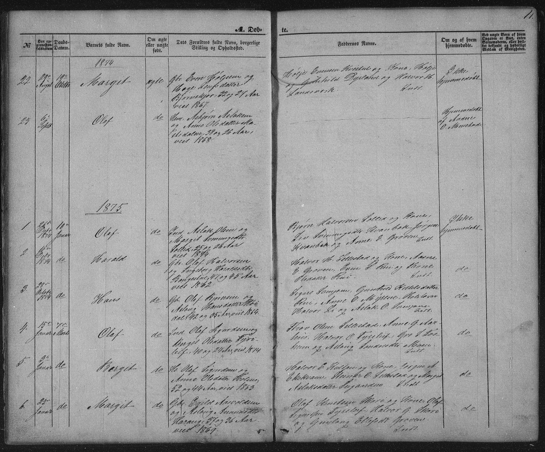 SAKO, Seljord kirkebøker, G/Gc/L0002: Klokkerbok nr. III 2, 1872-1886, s. 11