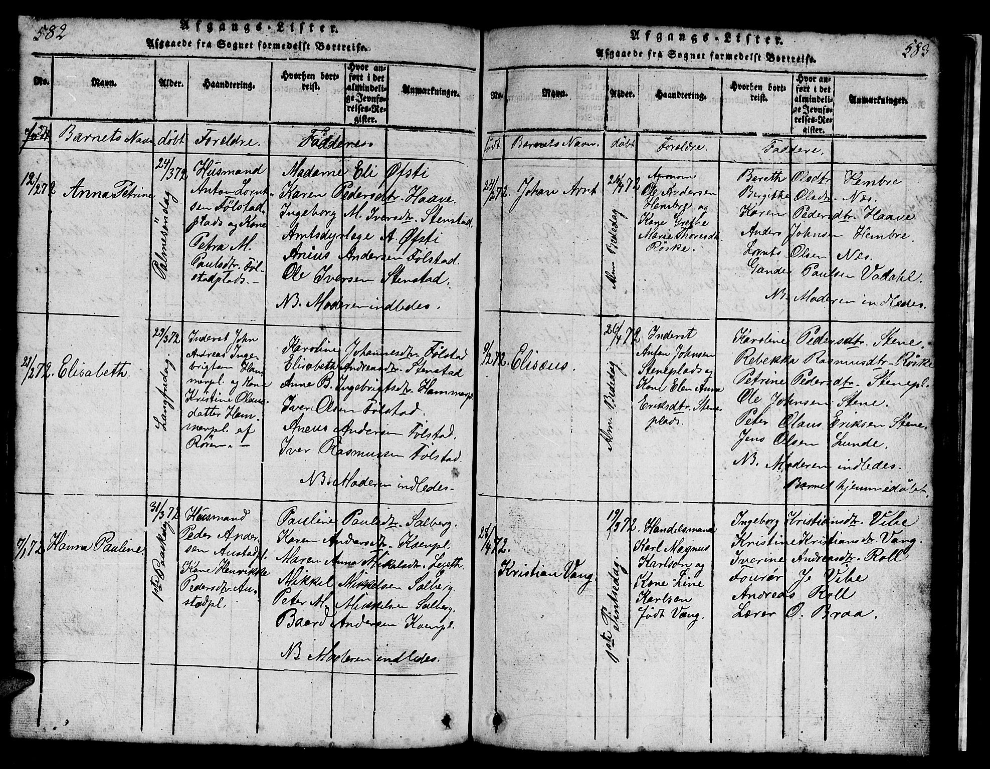 SAT, Ministerialprotokoller, klokkerbøker og fødselsregistre - Nord-Trøndelag, 731/L0310: Klokkerbok nr. 731C01, 1816-1874, s. 582-583