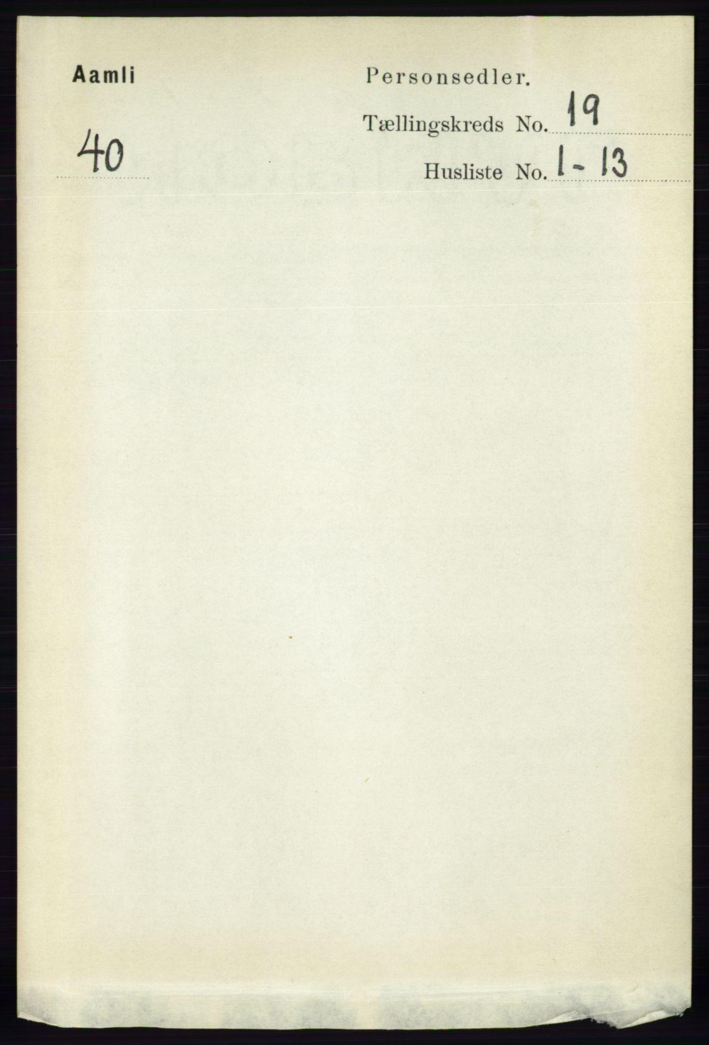 RA, Folketelling 1891 for 0929 Åmli herred, 1891, s. 3141