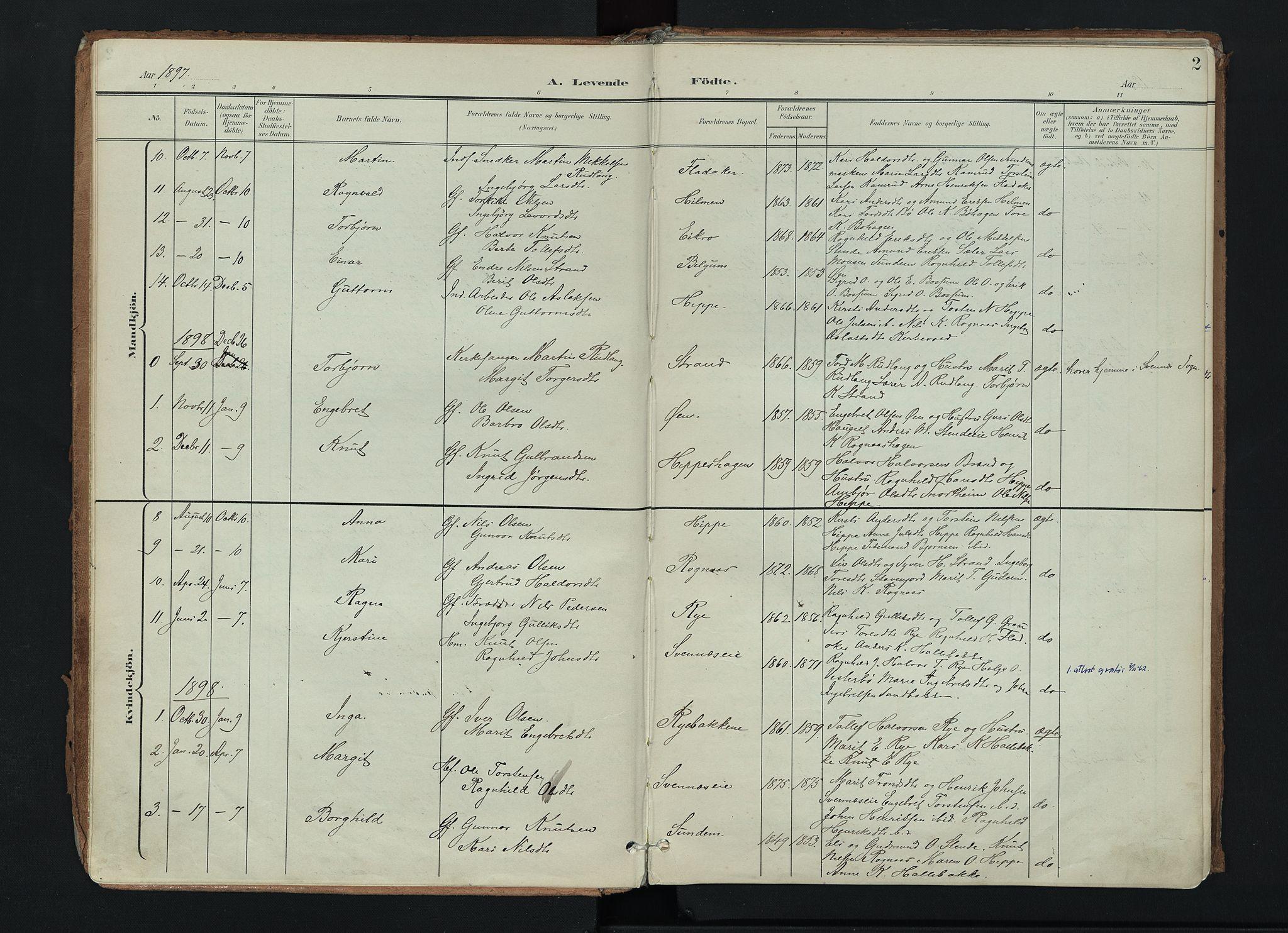 SAH, Nord-Aurdal prestekontor, Ministerialbok nr. 17, 1897-1926, s. 2