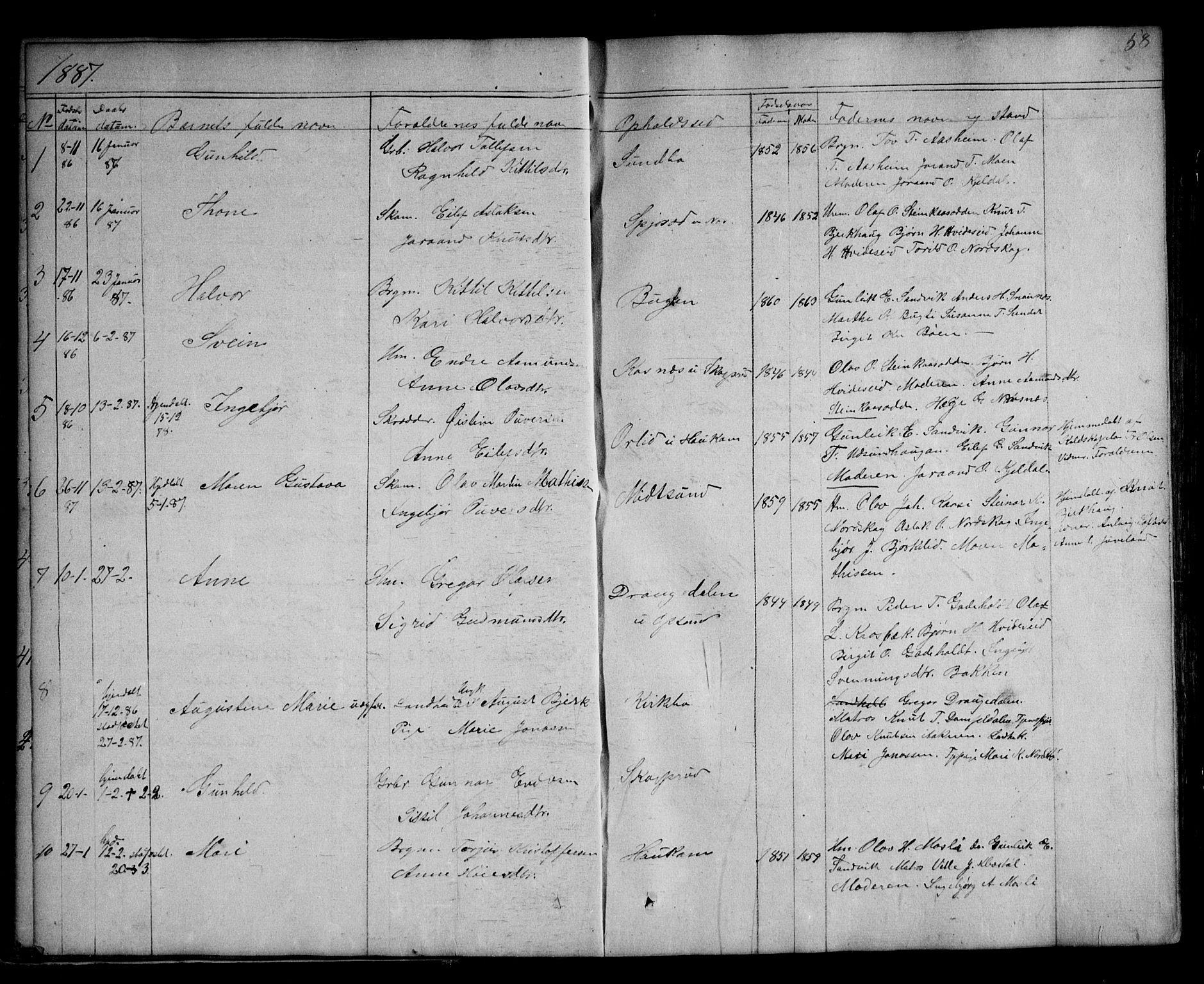 SAKO, Kviteseid kirkebøker, G/Ga/L0001: Klokkerbok nr. I 1, 1850-1893, s. 58