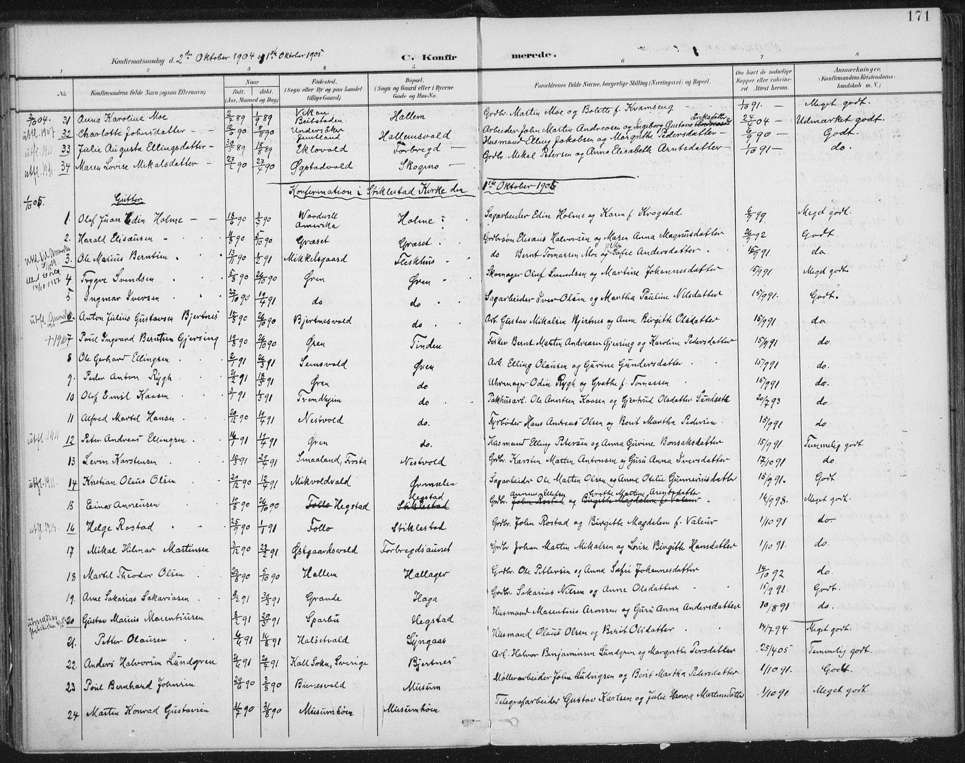SAT, Ministerialprotokoller, klokkerbøker og fødselsregistre - Nord-Trøndelag, 723/L0246: Ministerialbok nr. 723A15, 1900-1917, s. 171