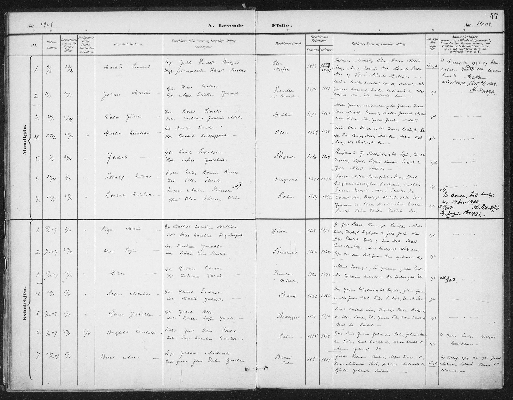 SAT, Ministerialprotokoller, klokkerbøker og fødselsregistre - Sør-Trøndelag, 658/L0723: Ministerialbok nr. 658A02, 1897-1912, s. 47