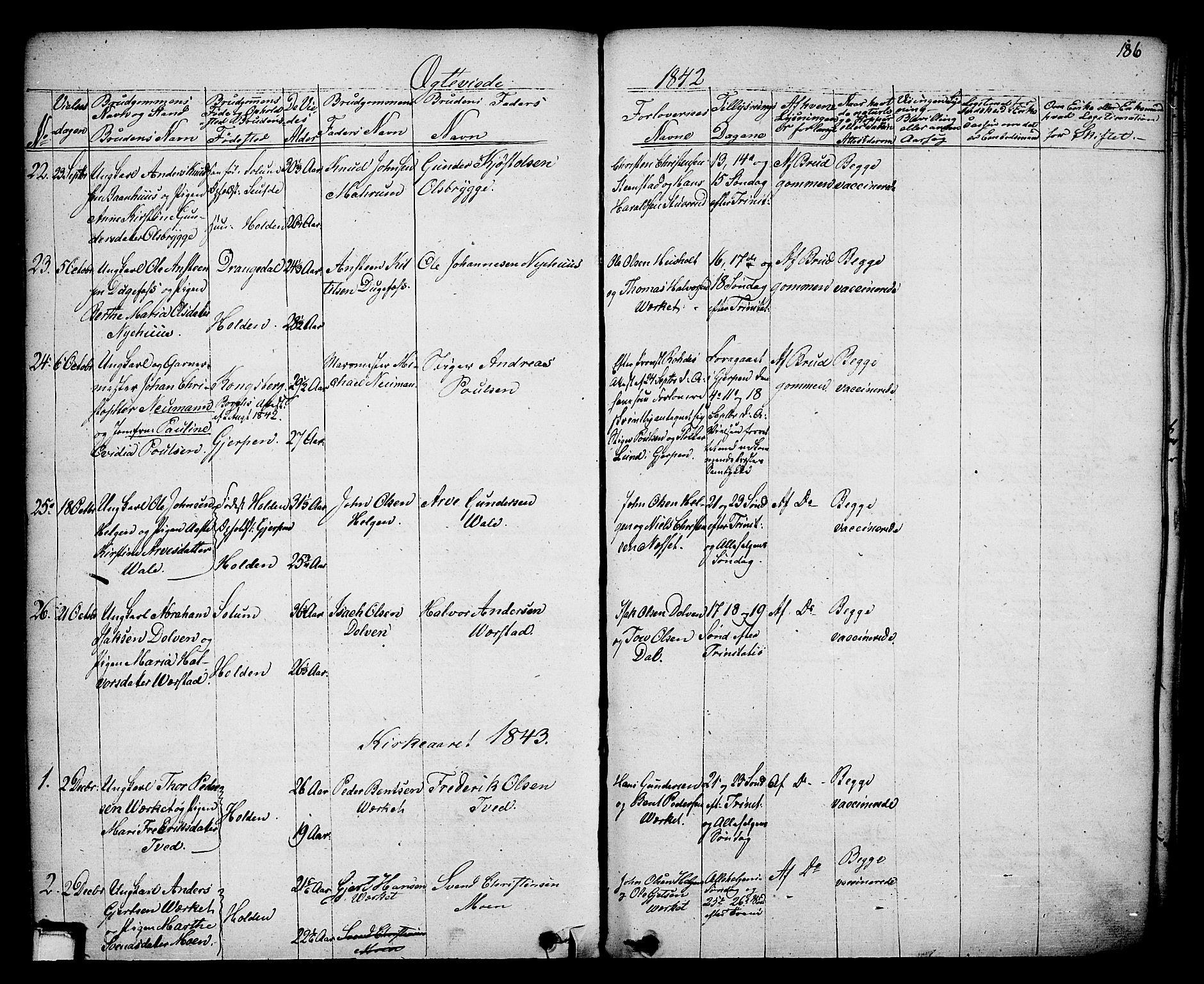 SAKO, Holla kirkebøker, F/Fa/L0004: Ministerialbok nr. 4, 1830-1848, s. 186