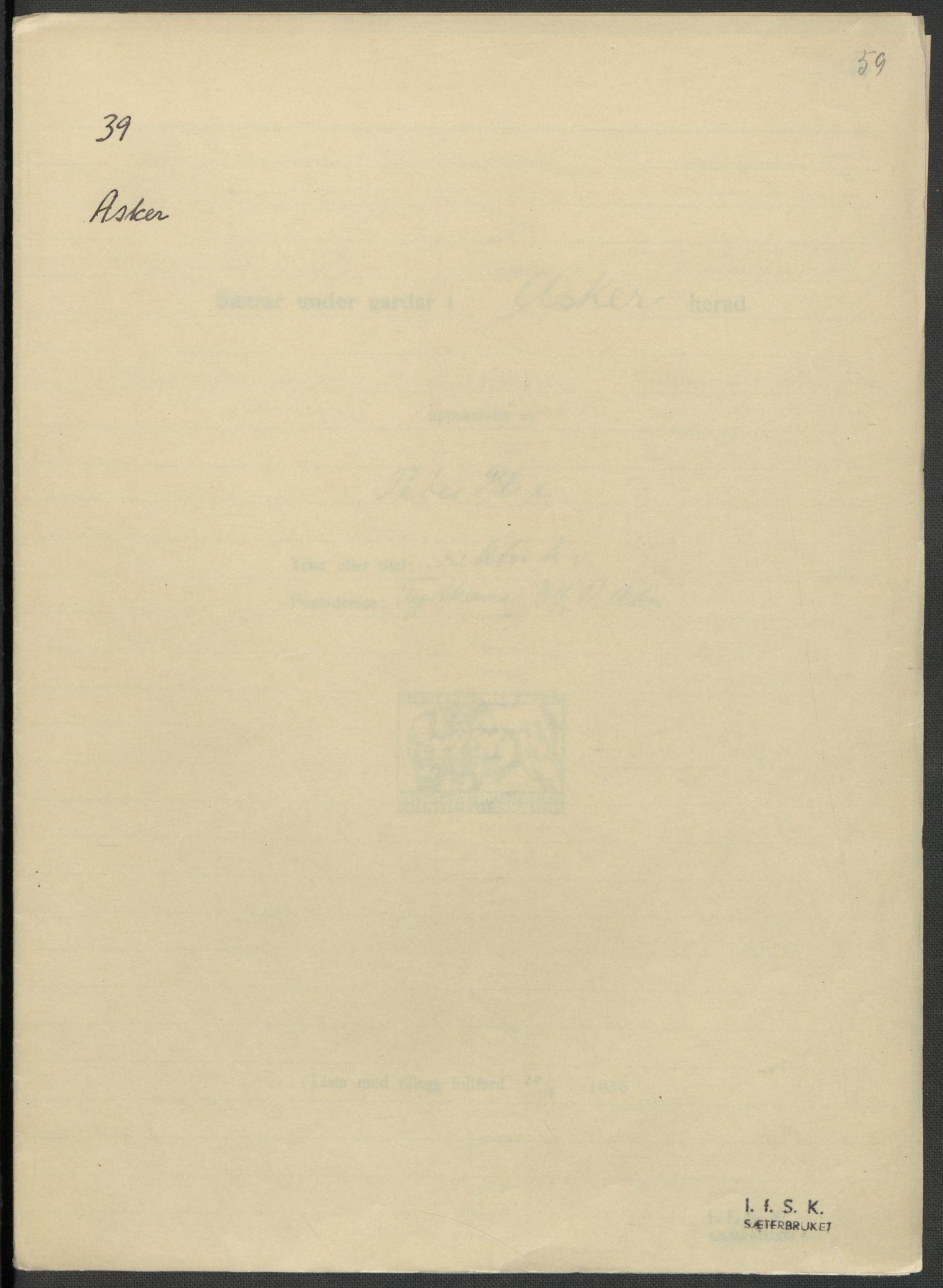 RA, Instituttet for sammenlignende kulturforskning, F/Fc/L0002: Eske B2:, 1932-1936, s. 59