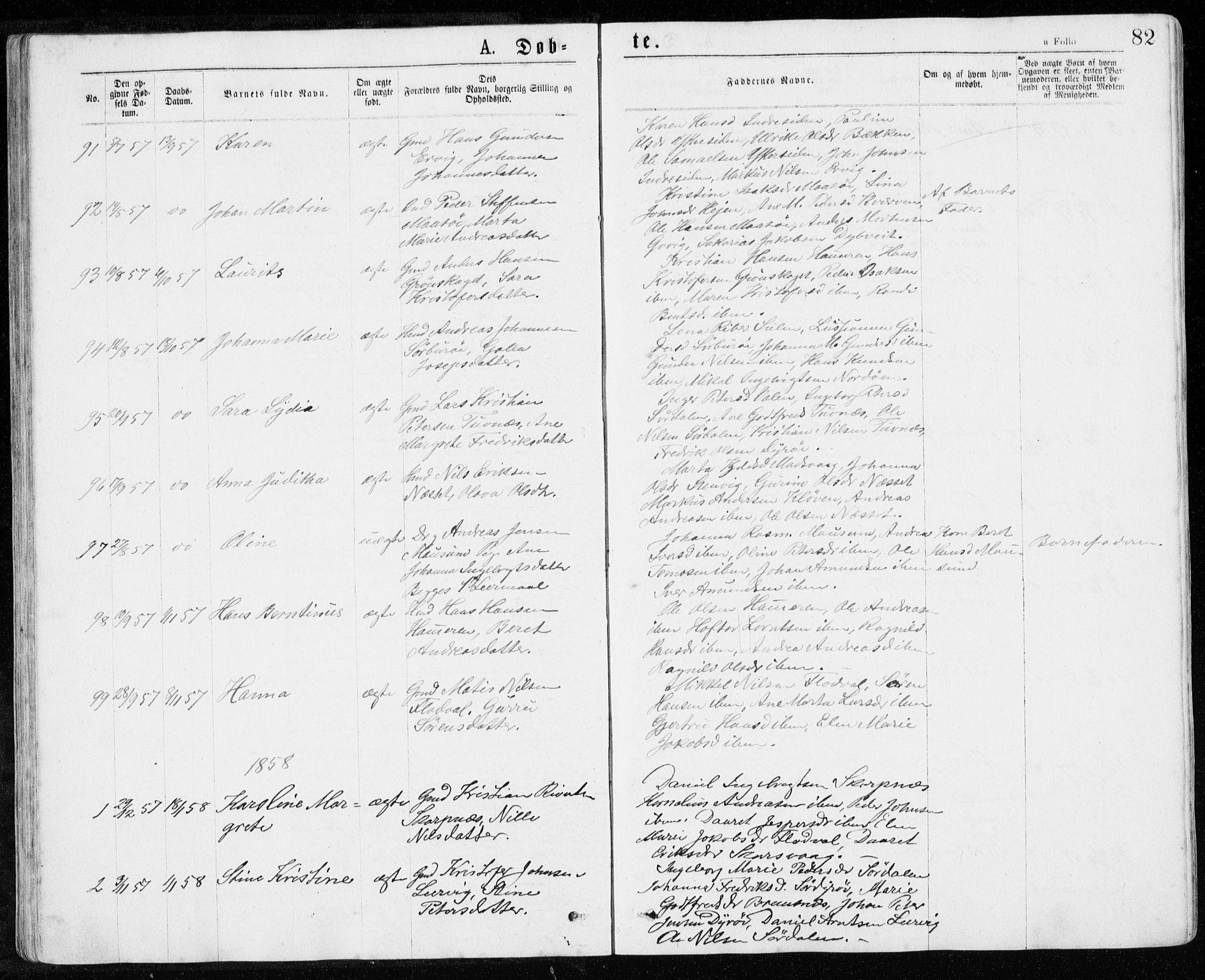 SAT, Ministerialprotokoller, klokkerbøker og fødselsregistre - Sør-Trøndelag, 640/L0576: Ministerialbok nr. 640A01, 1846-1876, s. 82