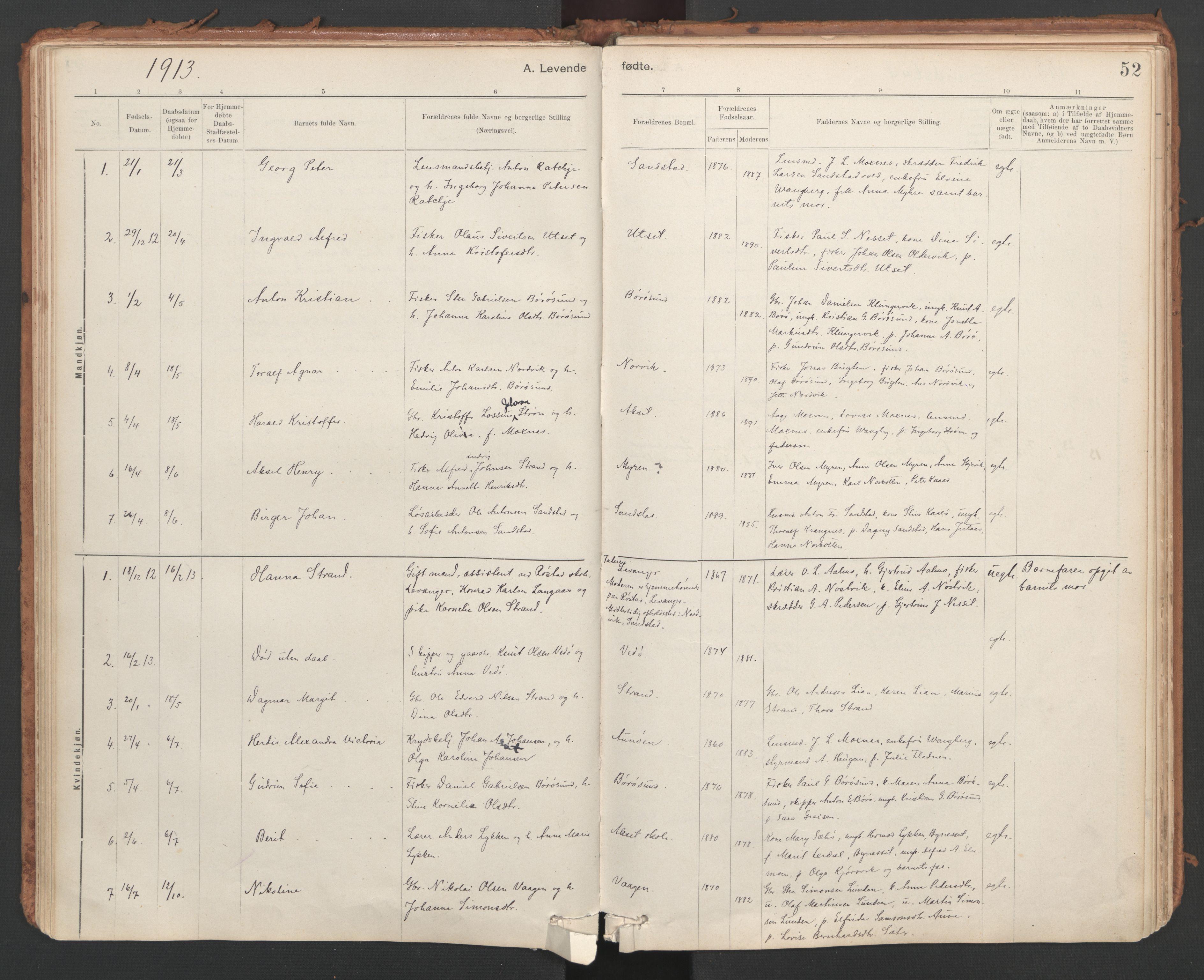 SAT, Ministerialprotokoller, klokkerbøker og fødselsregistre - Sør-Trøndelag, 639/L0572: Ministerialbok nr. 639A01, 1890-1920, s. 52