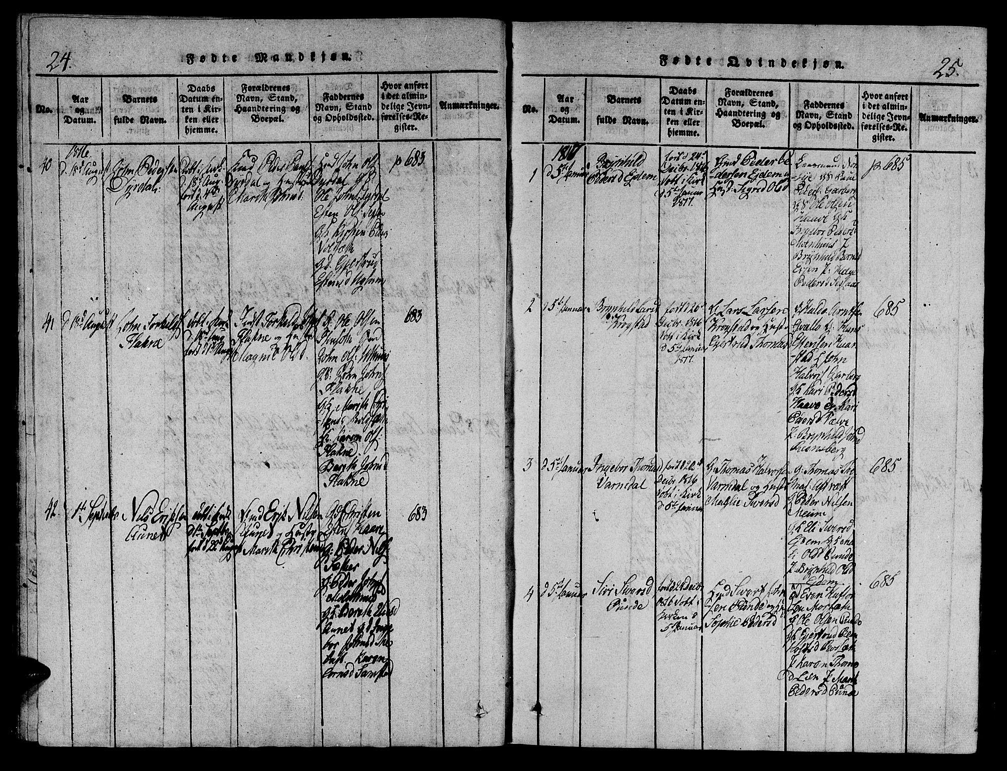 SAT, Ministerialprotokoller, klokkerbøker og fødselsregistre - Sør-Trøndelag, 695/L1141: Ministerialbok nr. 695A04 /1, 1816-1824, s. 24-25