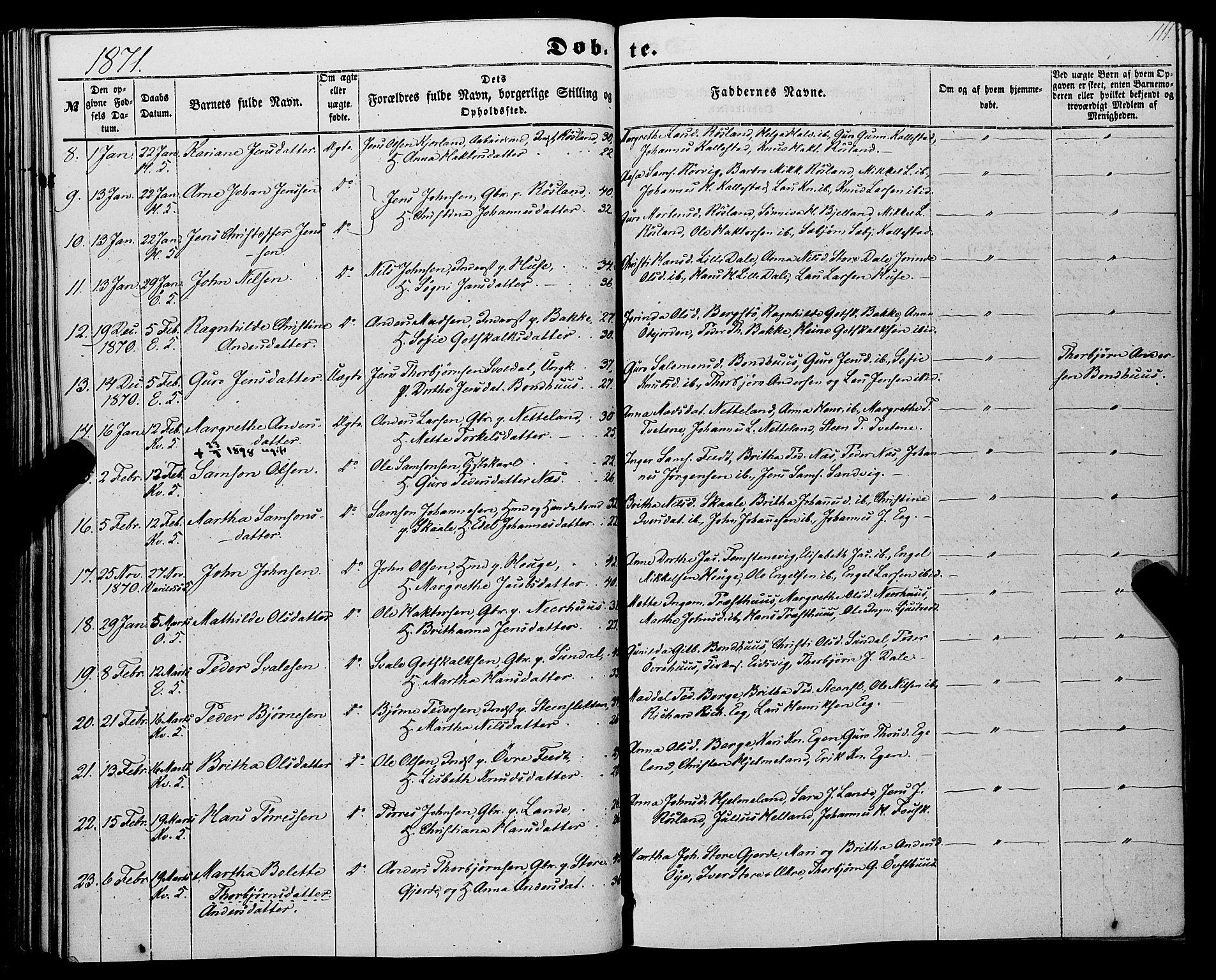 SAB, Kvinnherad Sokneprestembete, H/Haa: Ministerialbok nr. A 8, 1854-1872, s. 111
