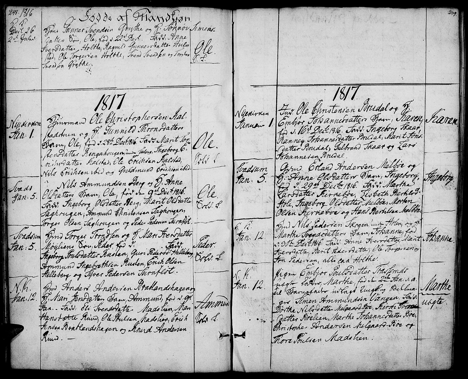SAH, Gausdal prestekontor, Ministerialbok nr. 4, 1809-1817, s. 248-249