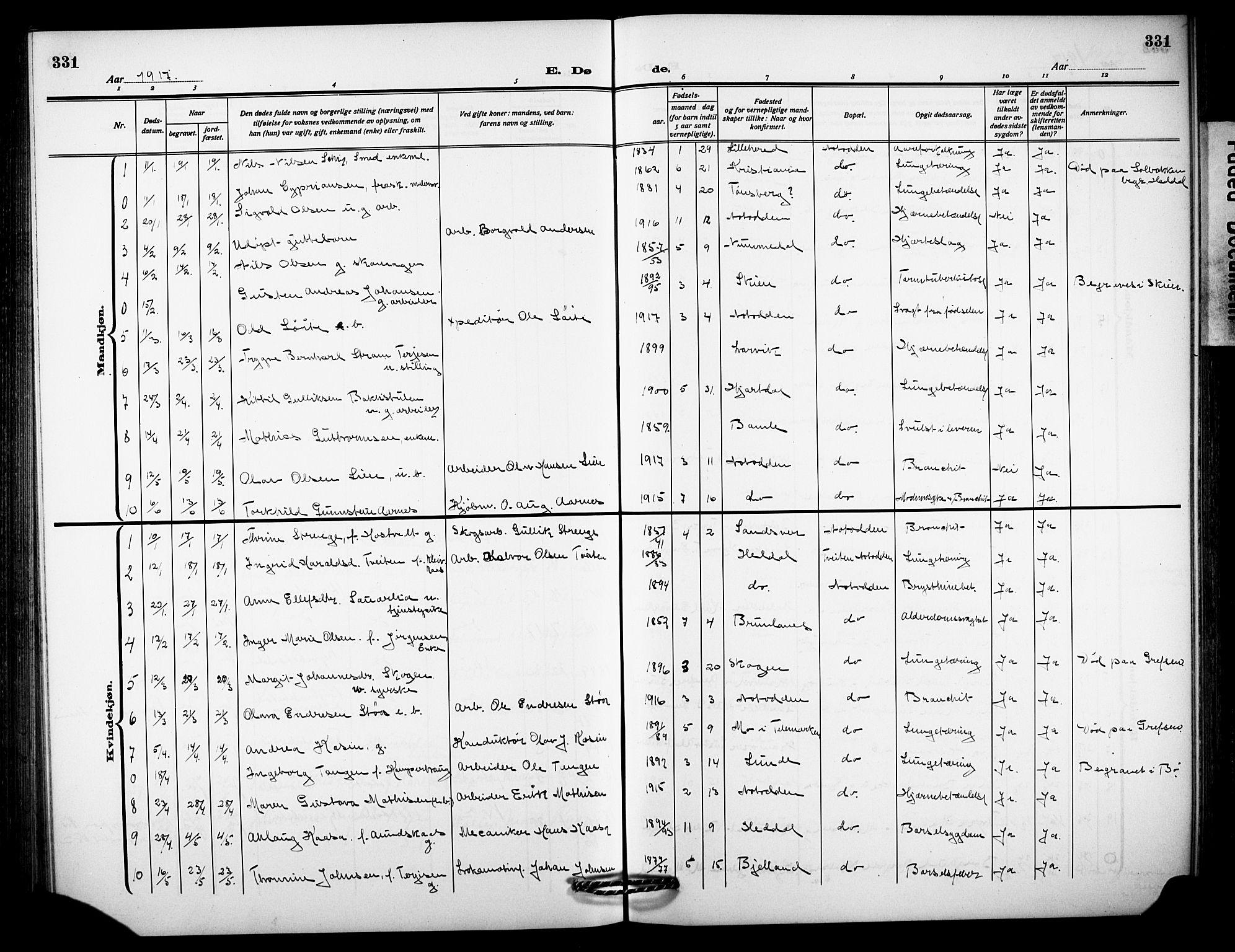 SAKO, Notodden kirkebøker, G/Ga/L0001: Klokkerbok nr. 1, 1912-1923, s. 331