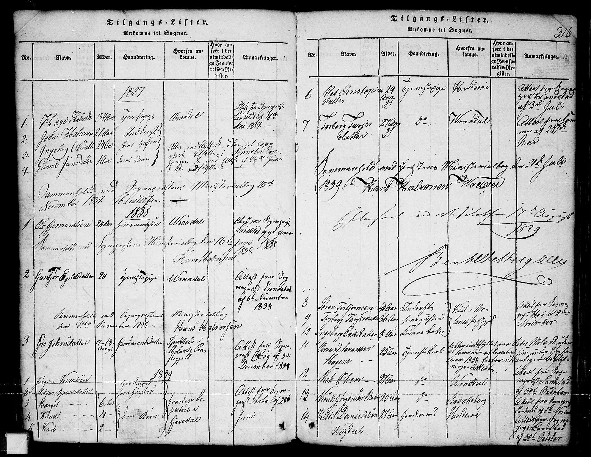 SAKO, Nissedal kirkebøker, G/Ga/L0001: Klokkerbok nr. I 1, 1814-1860, s. 316