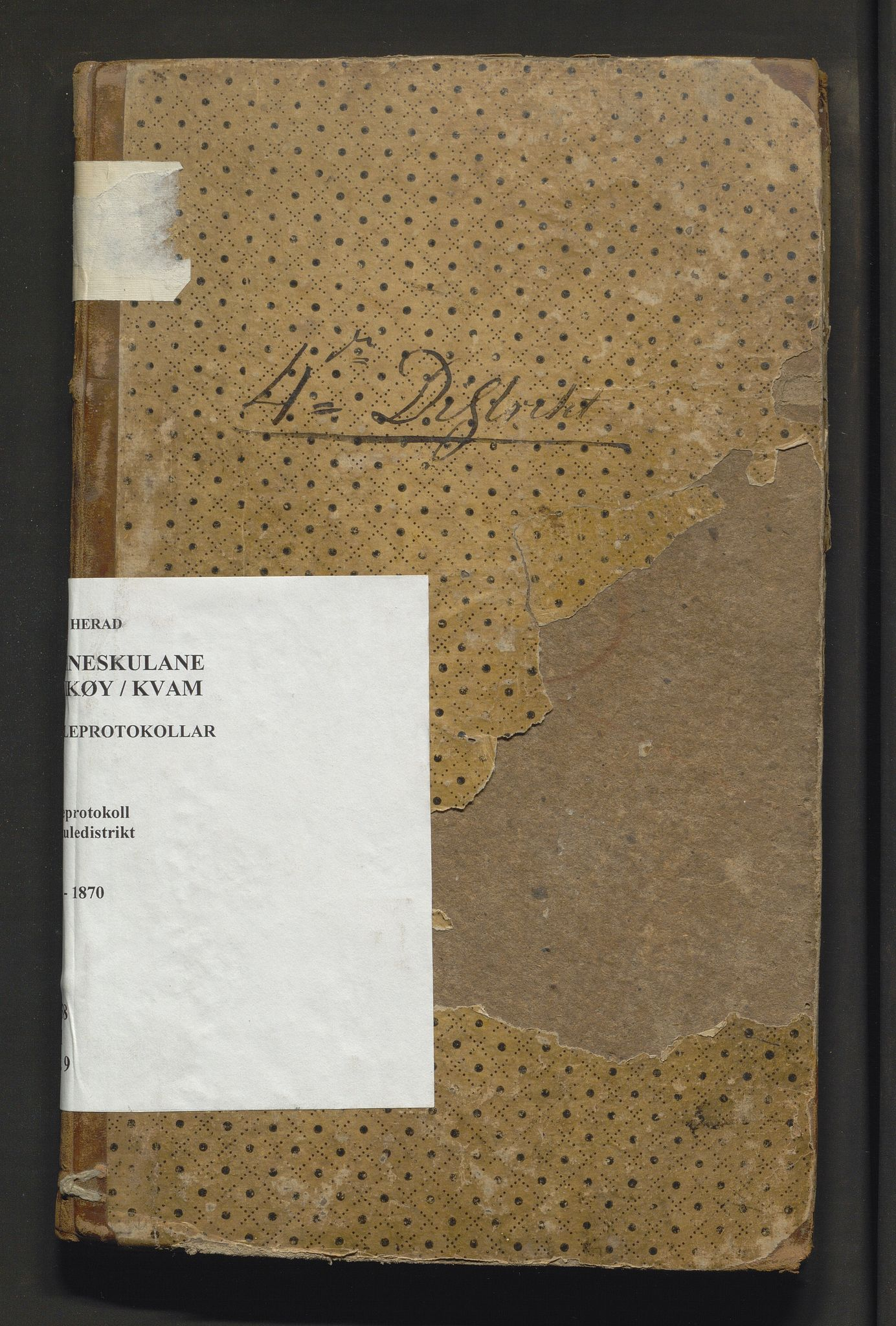 IKAH, Kvam herad. Barneskulane, F/Fa/L0009: Skuleprotokoll for skoleholderen i Vikøy prestegjeld 4. skuledistrikt, m/inventarliste, 1833-1870