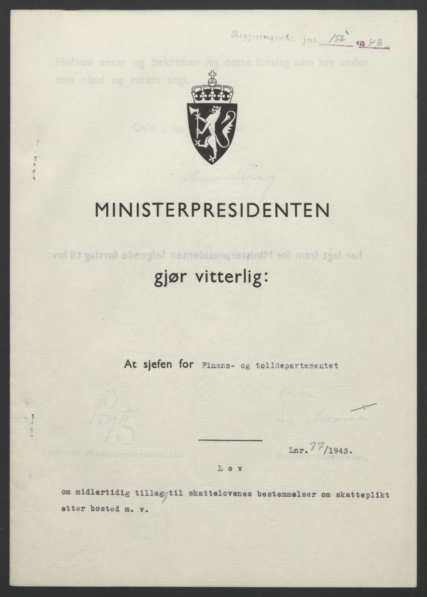 RA, NS-administrasjonen 1940-1945 (Statsrådsekretariatet, de kommisariske statsråder mm), D/Db/L0099: Lover, 1943, s. 353