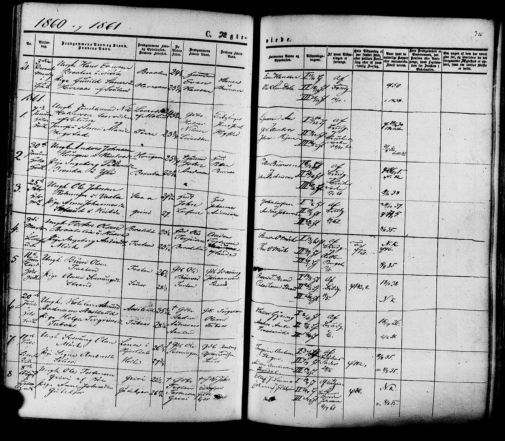 SAKO, Heddal kirkebøker, F/Fa/L0007: Ministerialbok nr. I 7, 1855-1877, s. 326